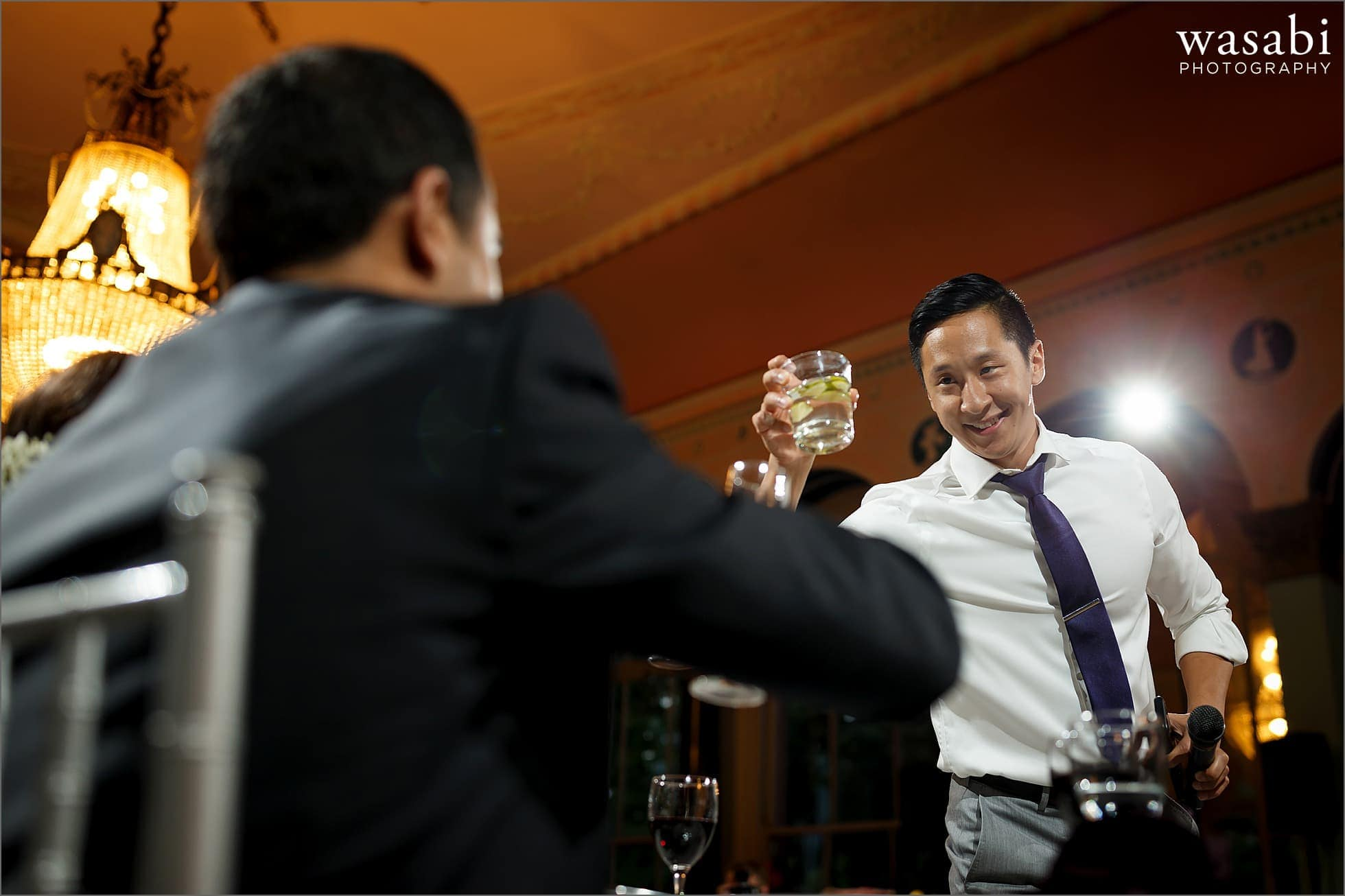 best man toasts with groom South Shore Cultural Center wedding reception photos