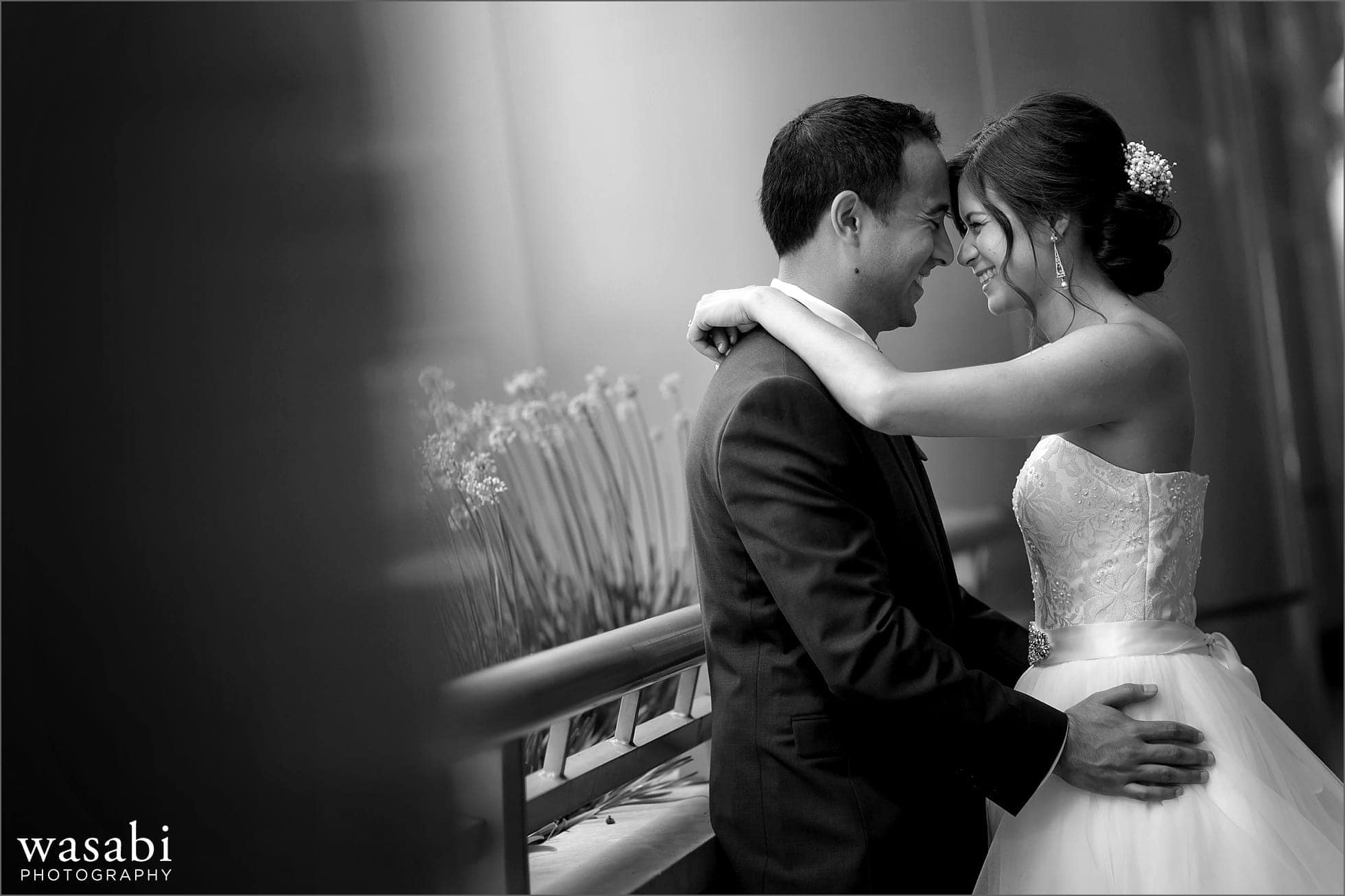 black and white bride and groom wedding portrait heads together
