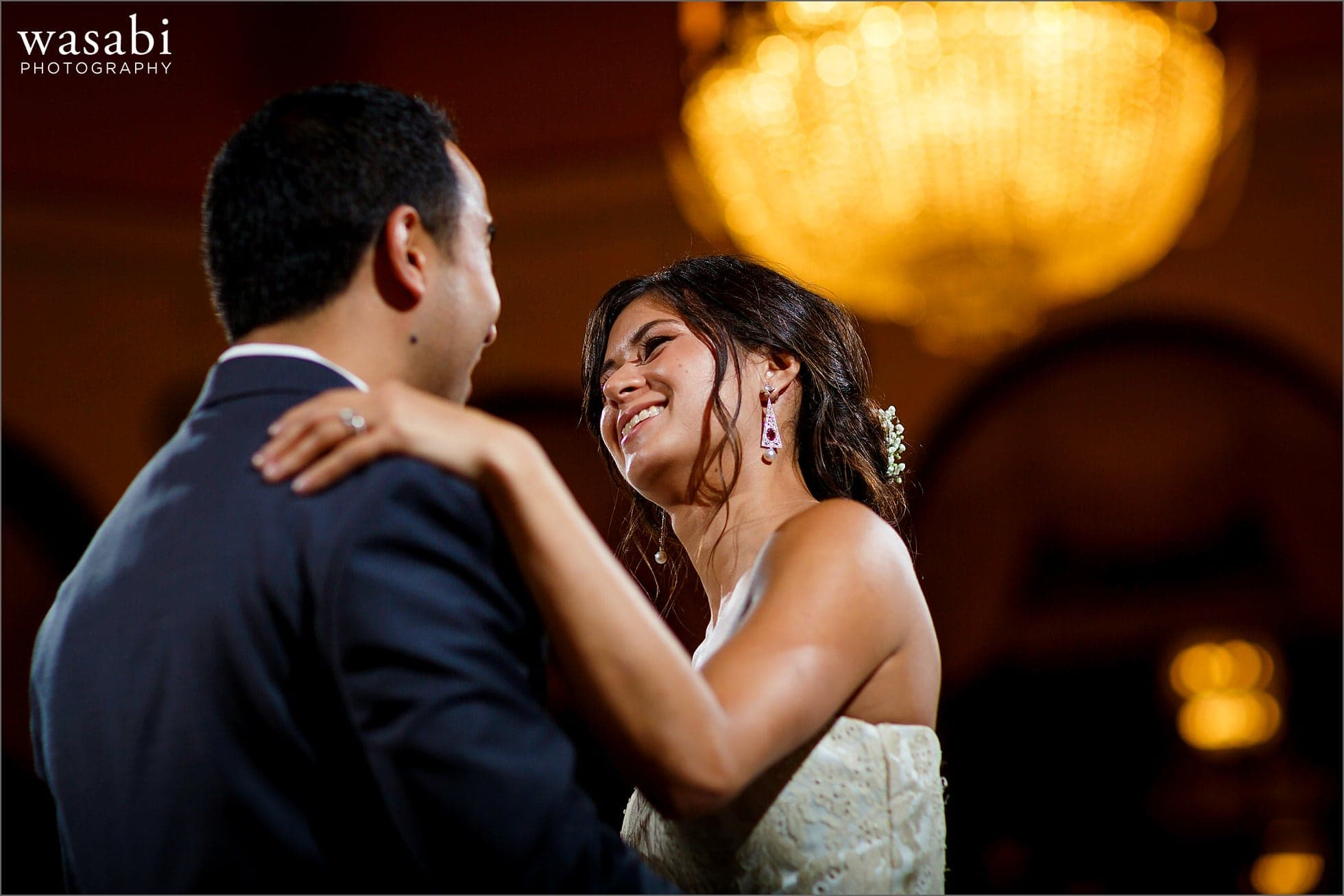 bride and groom first dance during South Shore Cultural Center wedding photos