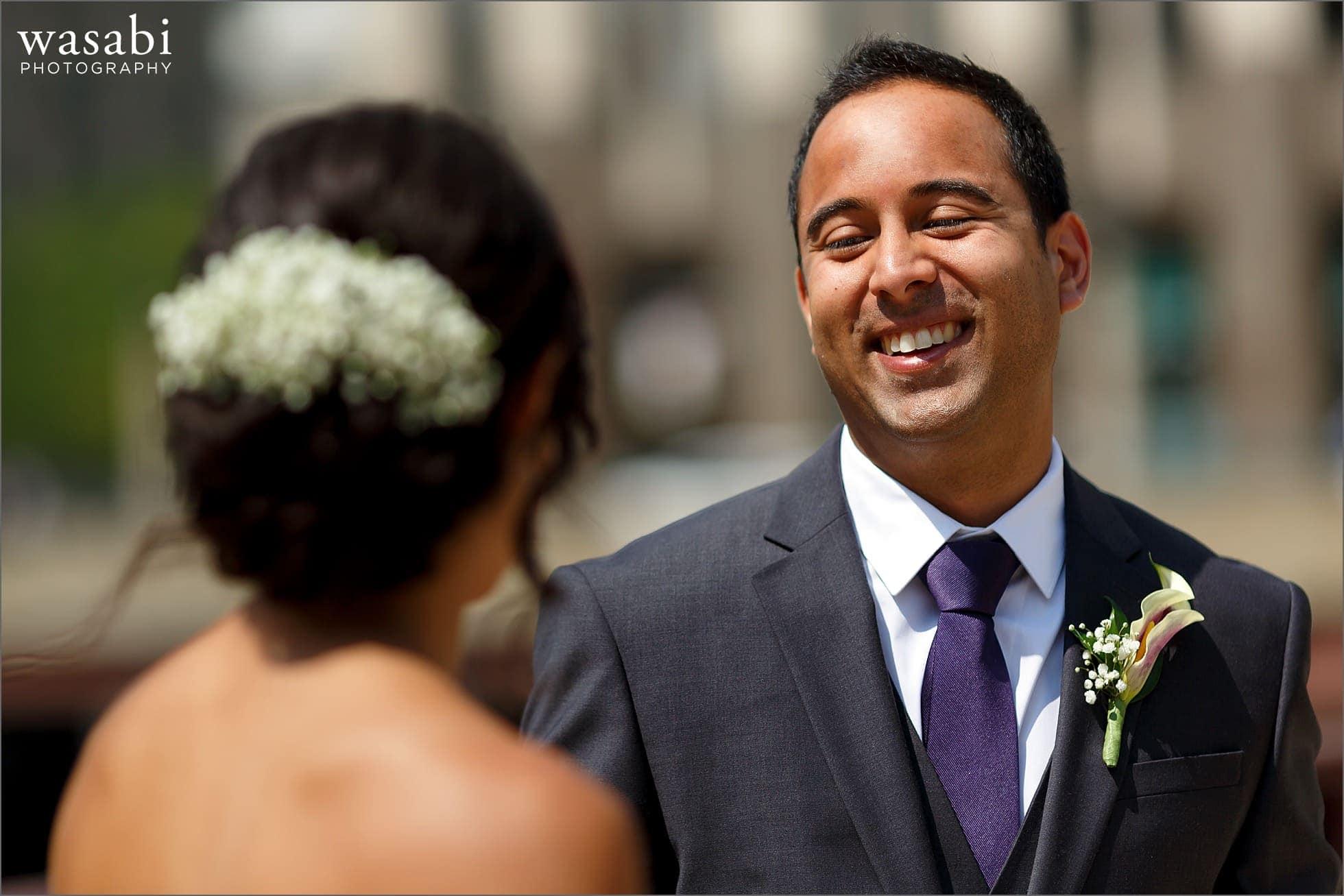 first look groom reaction