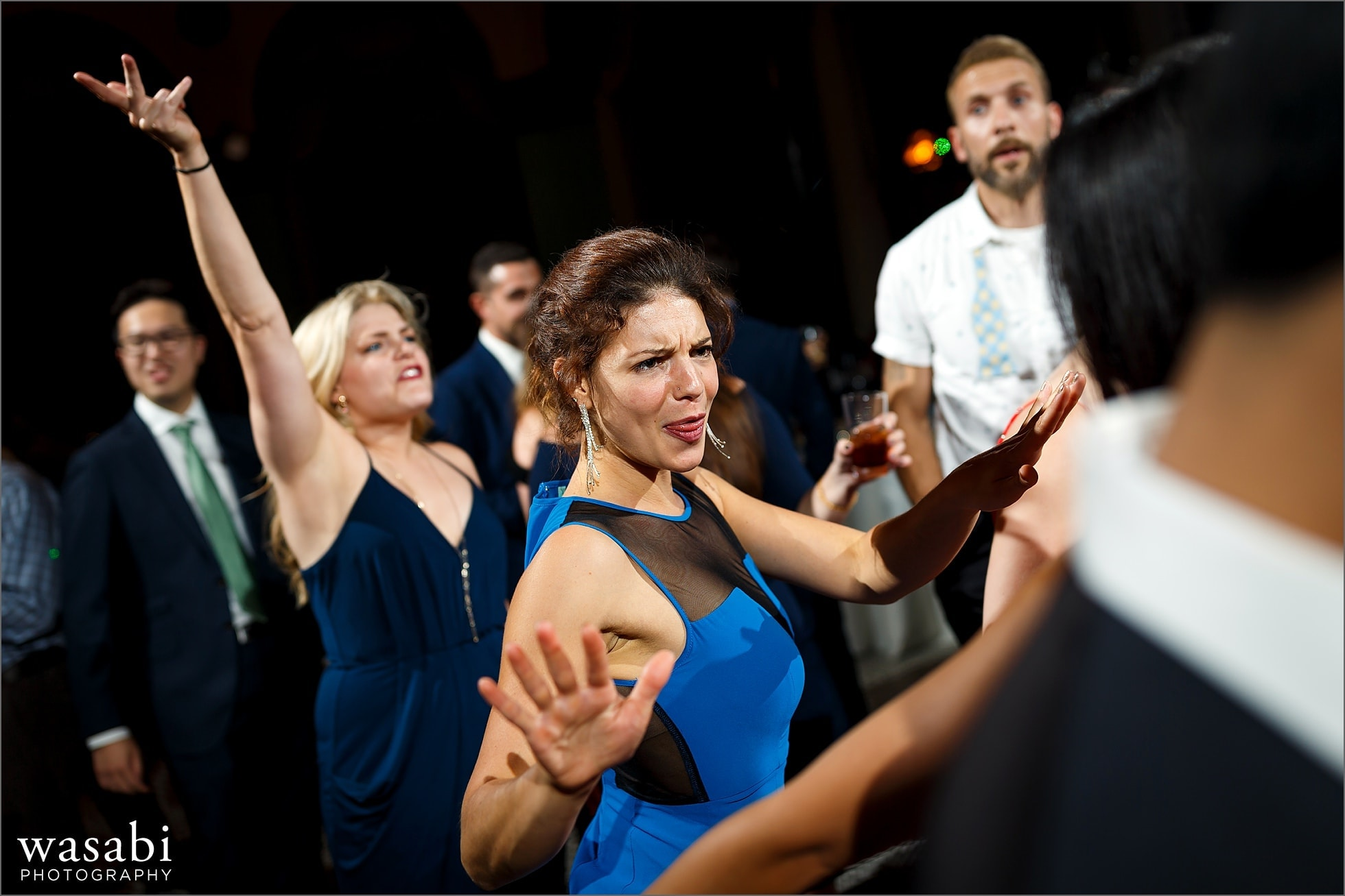 guests dance during South Shore Cultural Center wedding reception