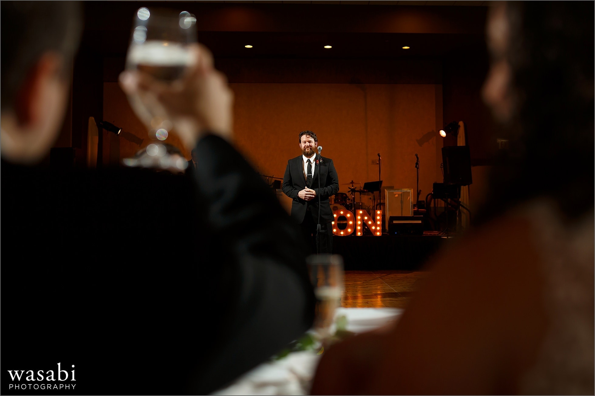 best men toast during wedding reception at Lombard Westin Hotel