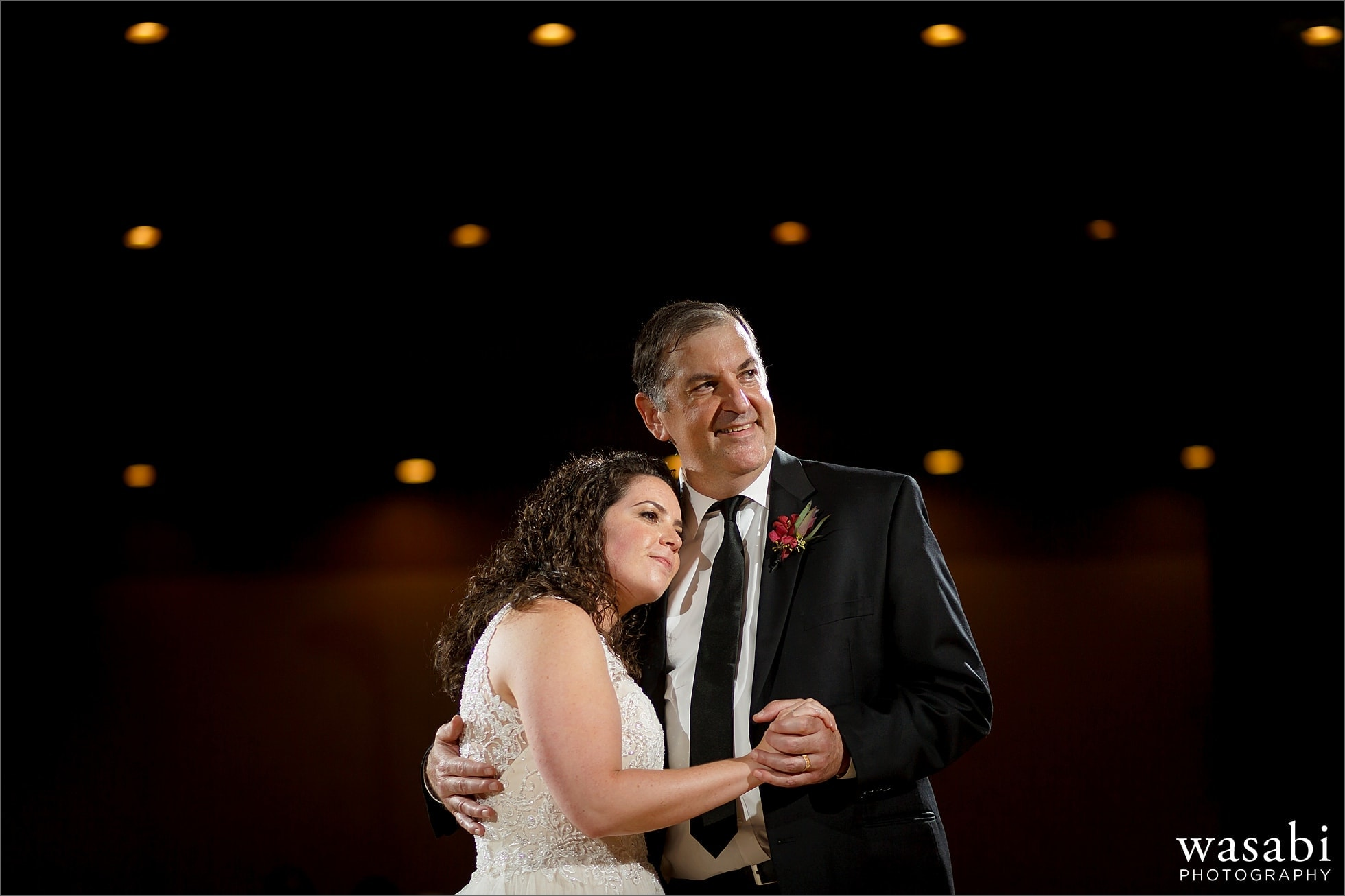 bride and father of the bride share first dance during reception at Lombard Westin Hotel wedding photos