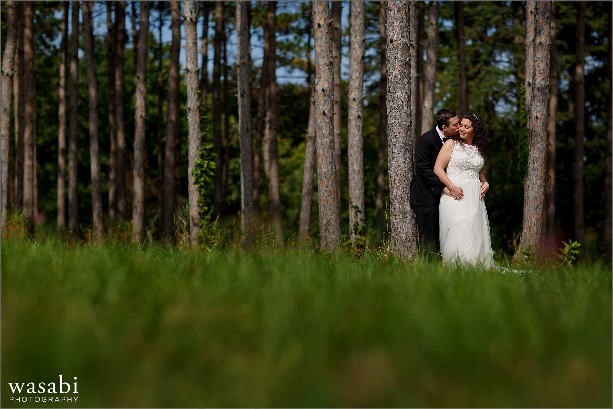 bride and groom pose for morton arboretum wedding photos in front of pine tree grove forest