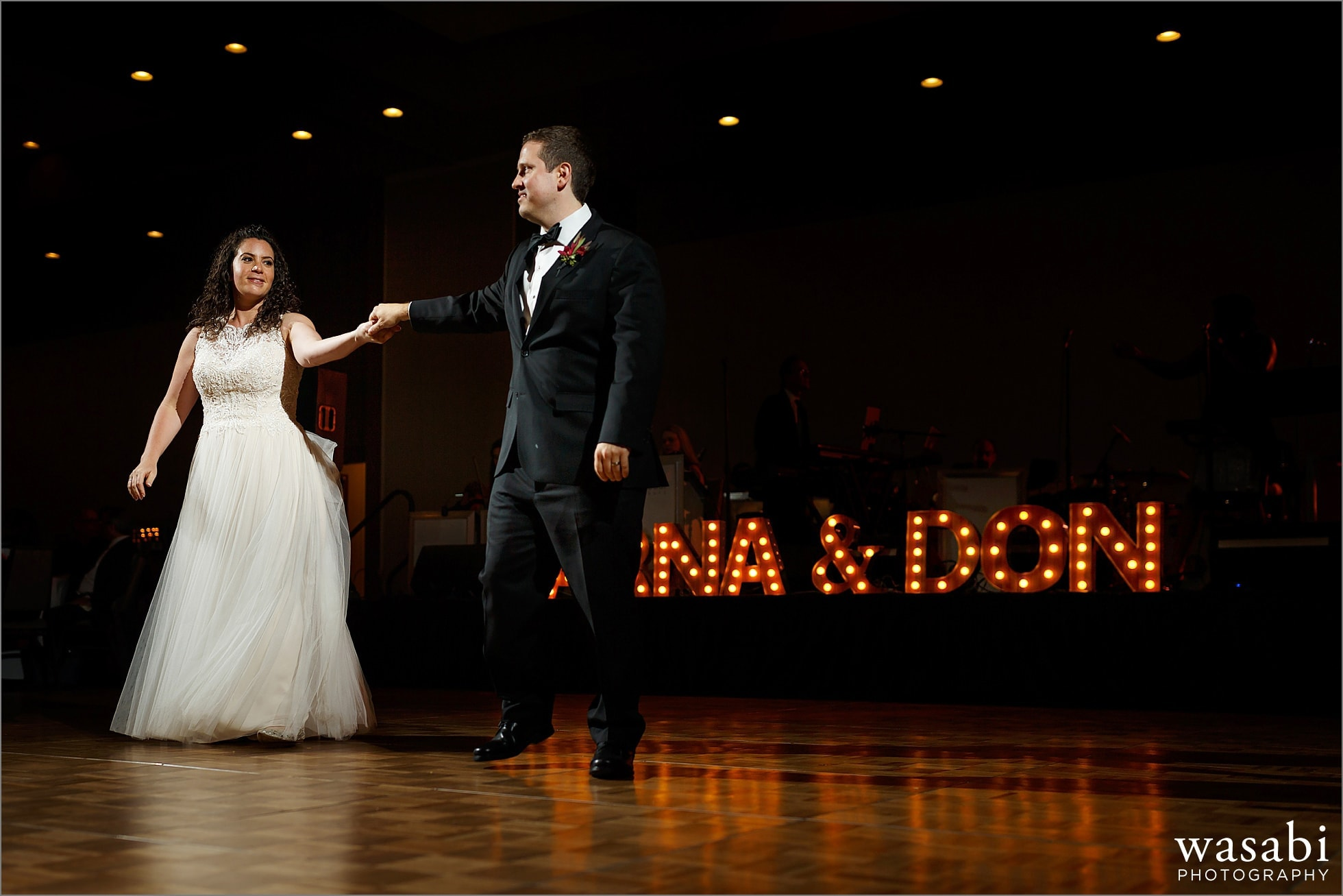 bride and groom share first dance during reception at Lombard Westin Hotel wedding photos