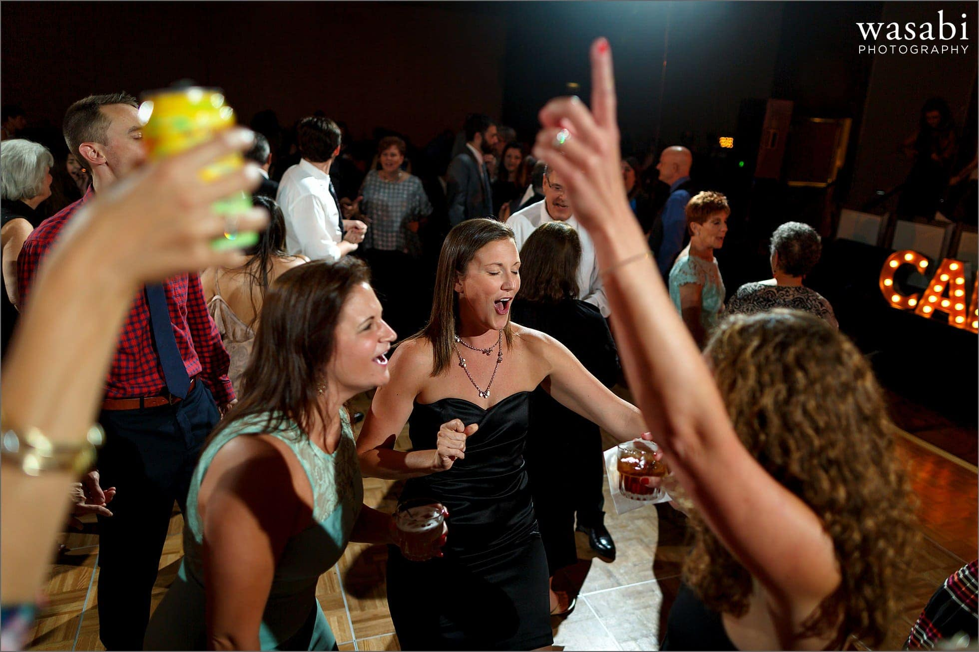 guests dance during wedding reception at Lombard Westin Hotel