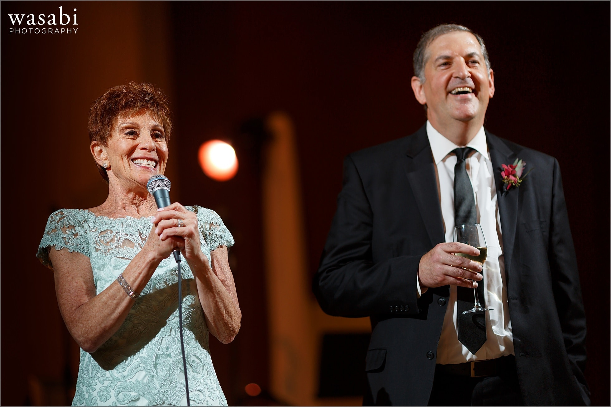 parents of the bride give toast during Lombard Westin Hotel wedding reception