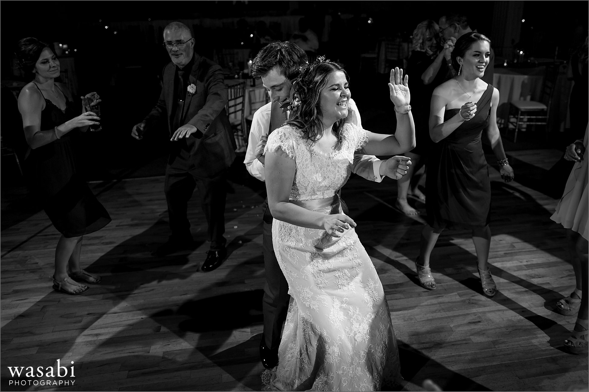 bride and groom dance during Palos Country Club wedding reception in Orland Park