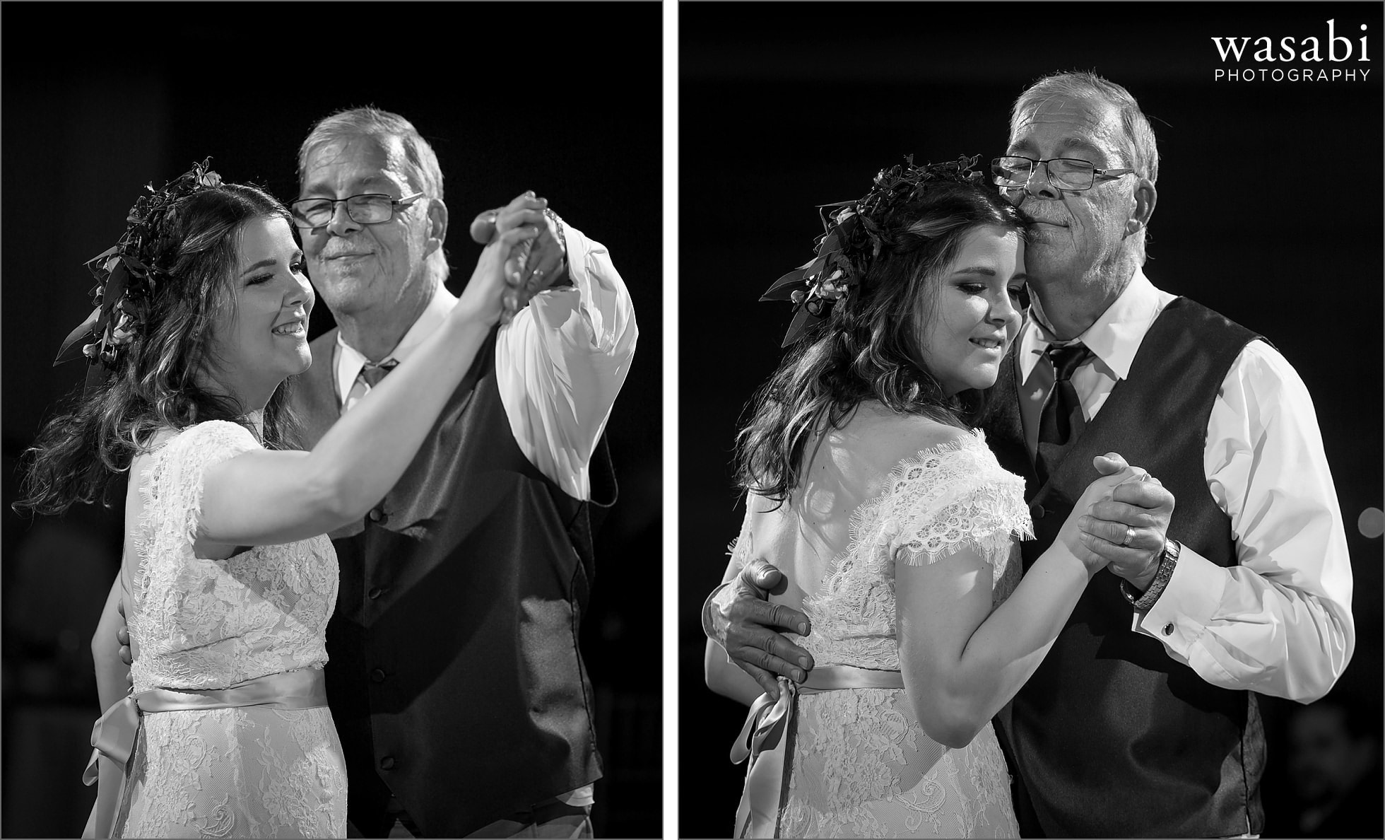 bride dances with her father during first dances at Palos Country Club wedding reception in Orland Park