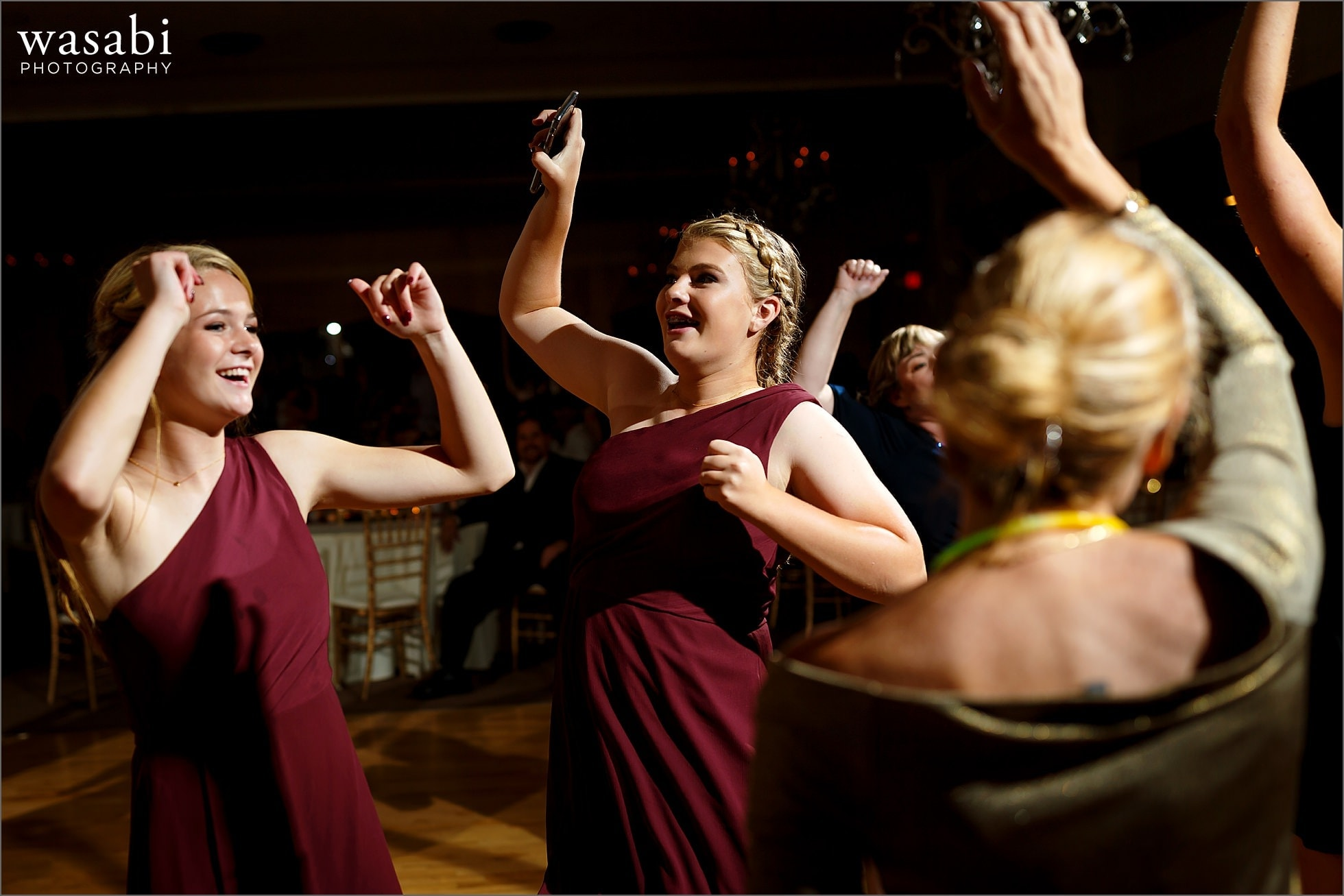 wedding guests dance during Palos Country Club wedding reception in Orland Park