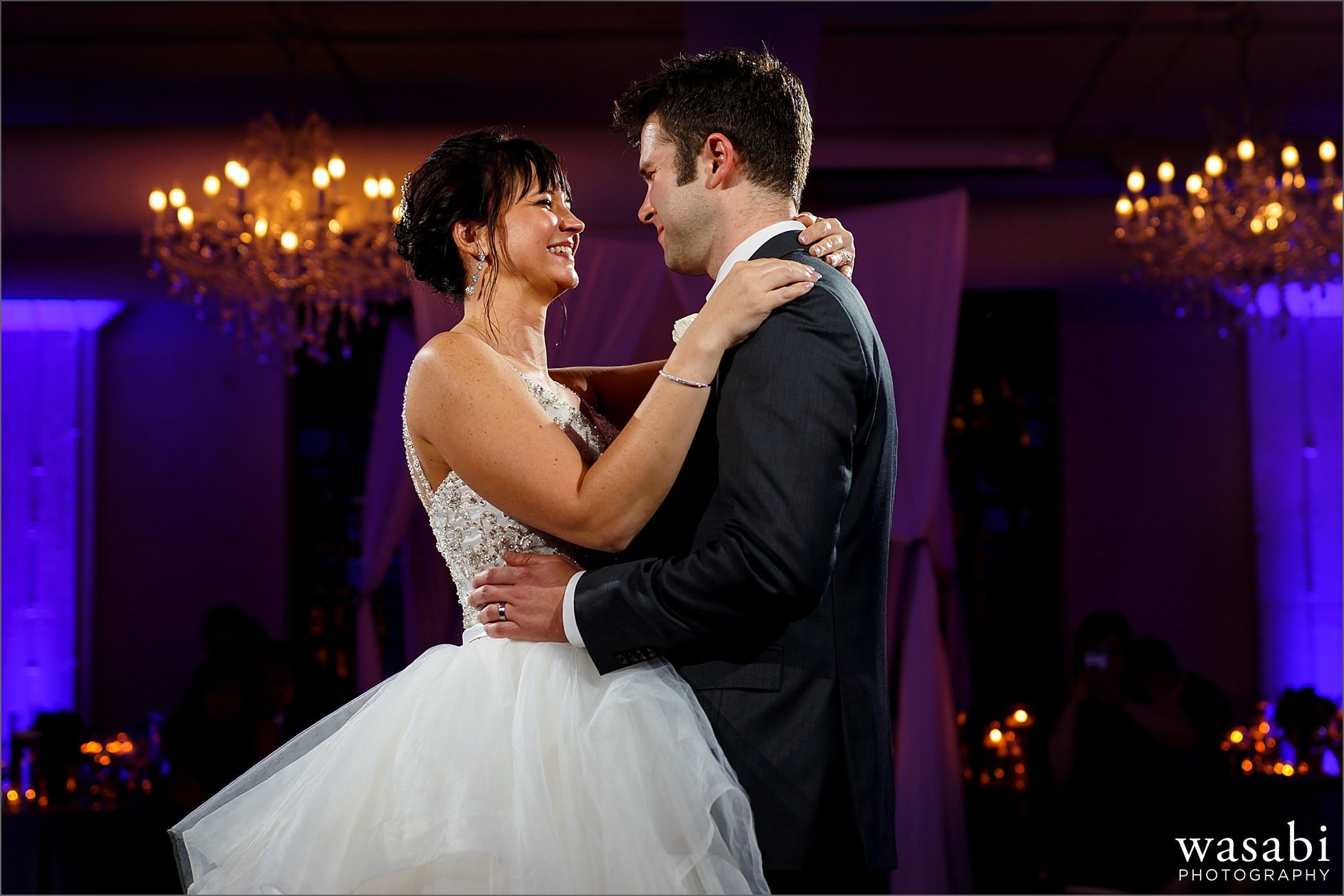 bride and groom first dance at Room 1520 during wedding reception