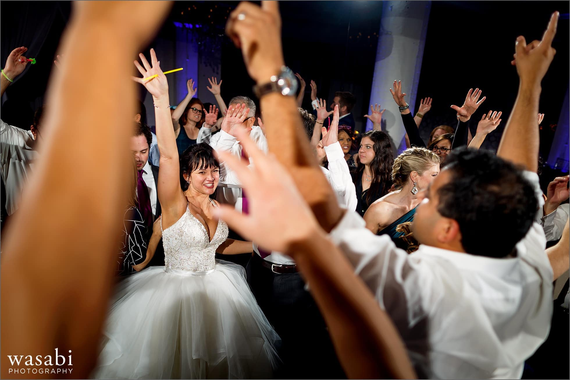bride and guests dance during reception at Room 1520 wedding photos