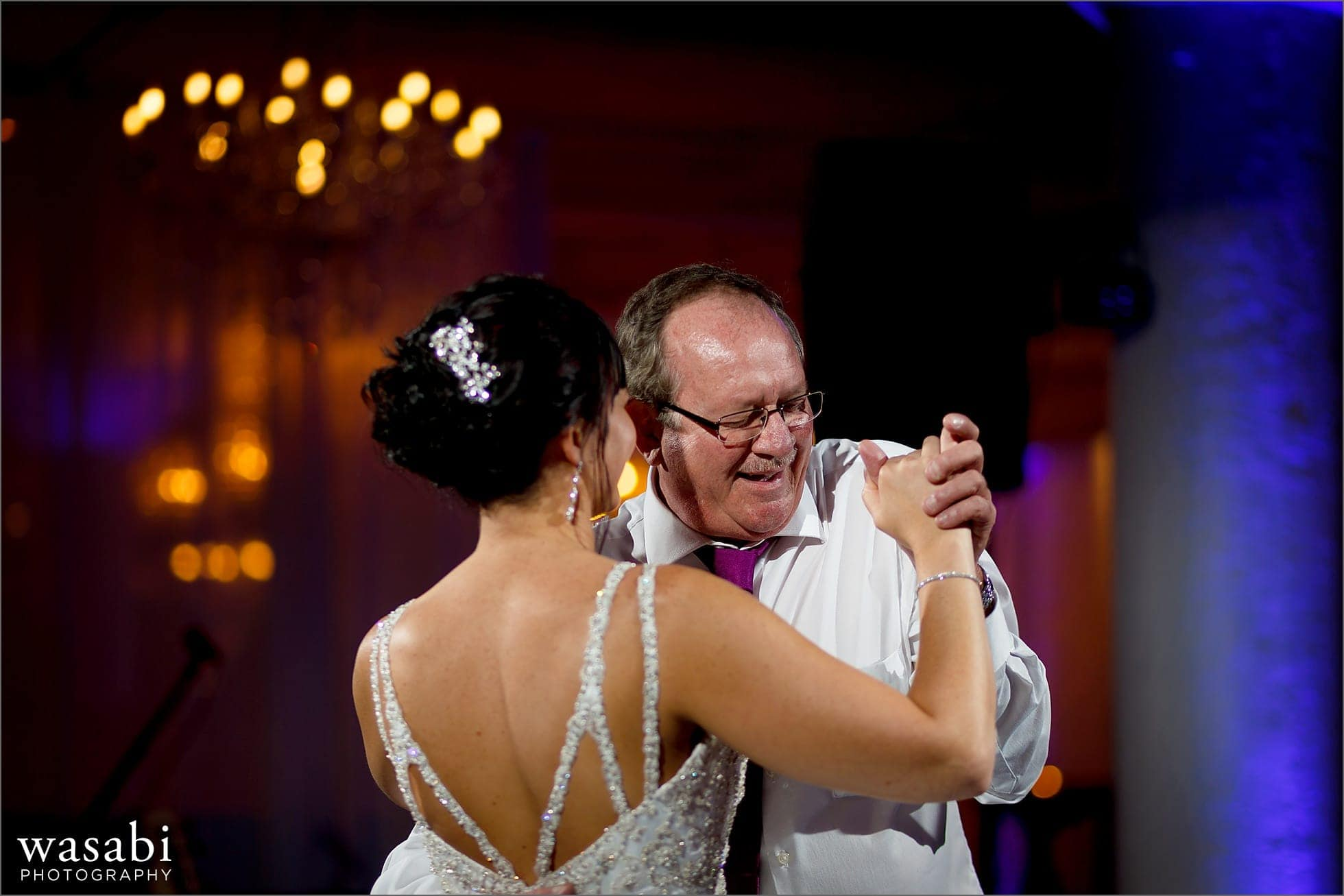 bride dances with father during wedding reception at room 1520 in Chicago