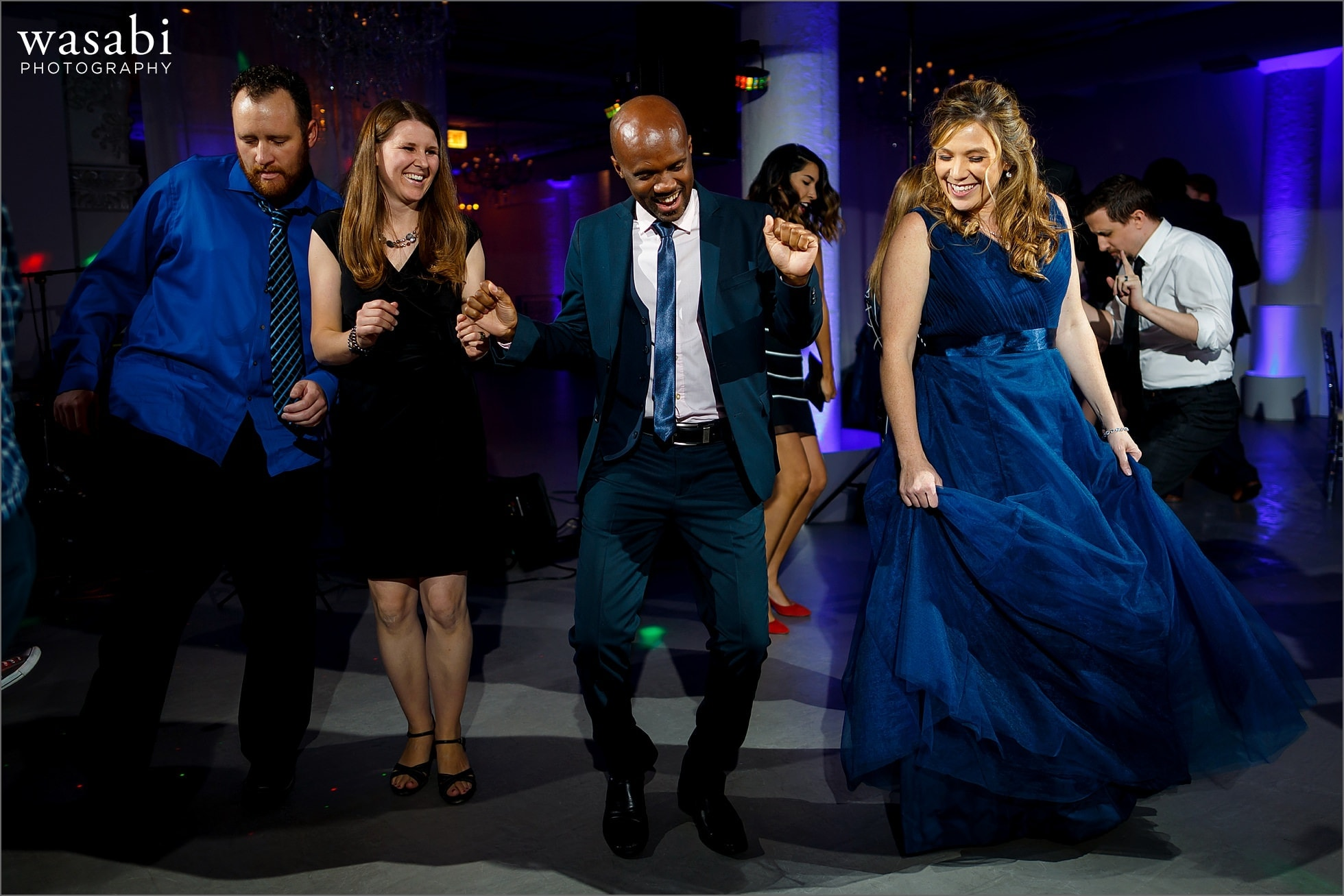 guests dance during wedding reception at Room 1520 in Chicago