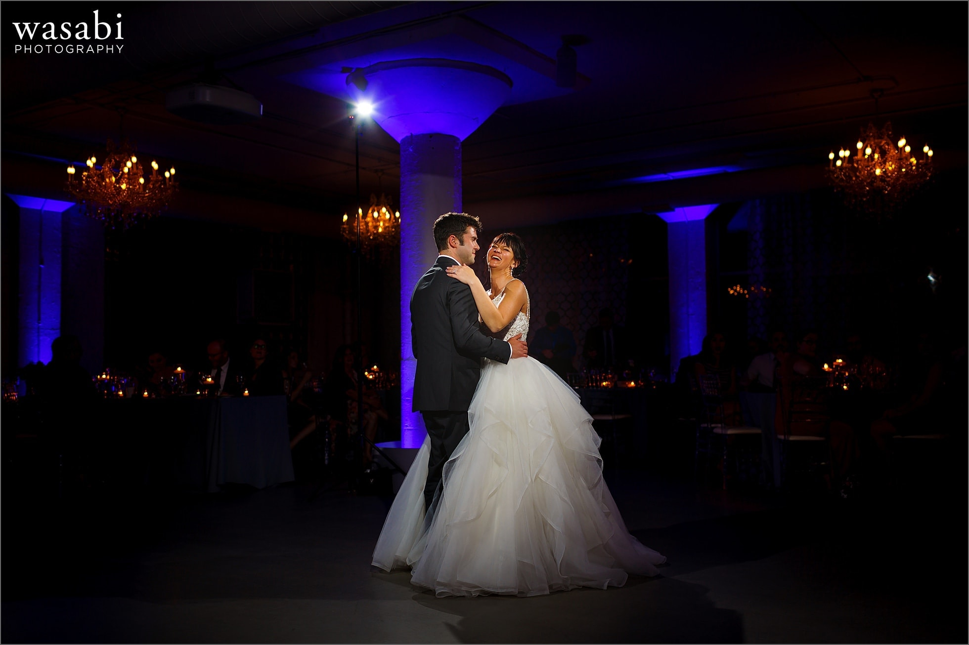 wide angle first dance during reception at Room 1520 wedding photos