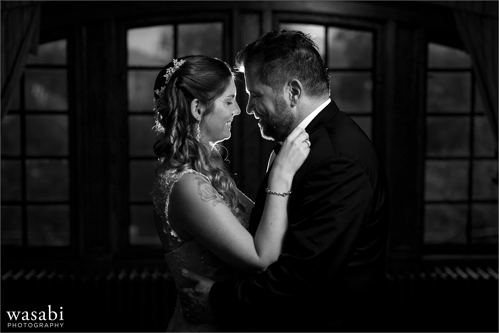 backlit black and white wedding portrait at Cheney Mansion in Oak Park