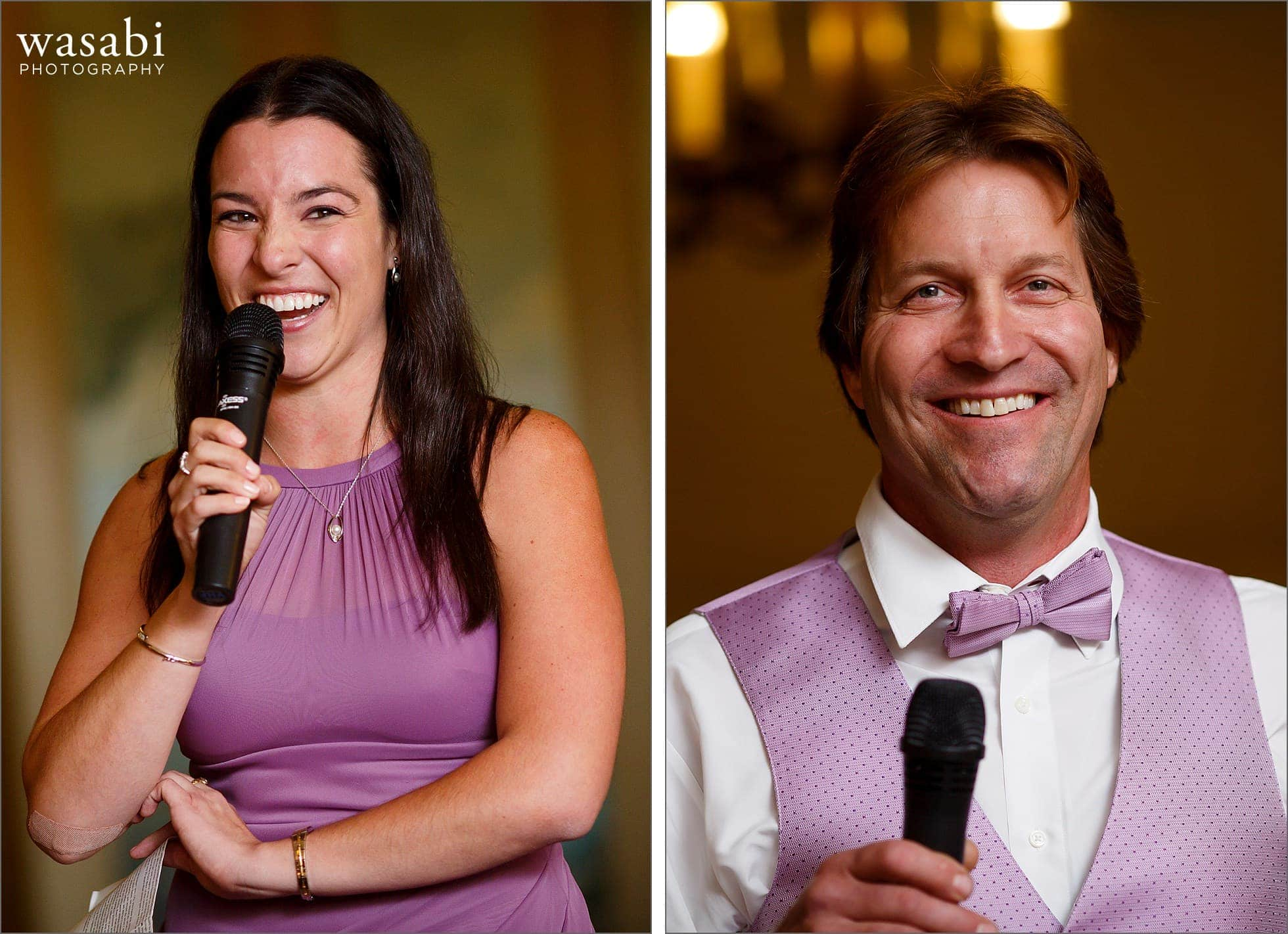 bridesmaid and groomsman give toasts during wedding reception at Cheney Mansion in Oak Park