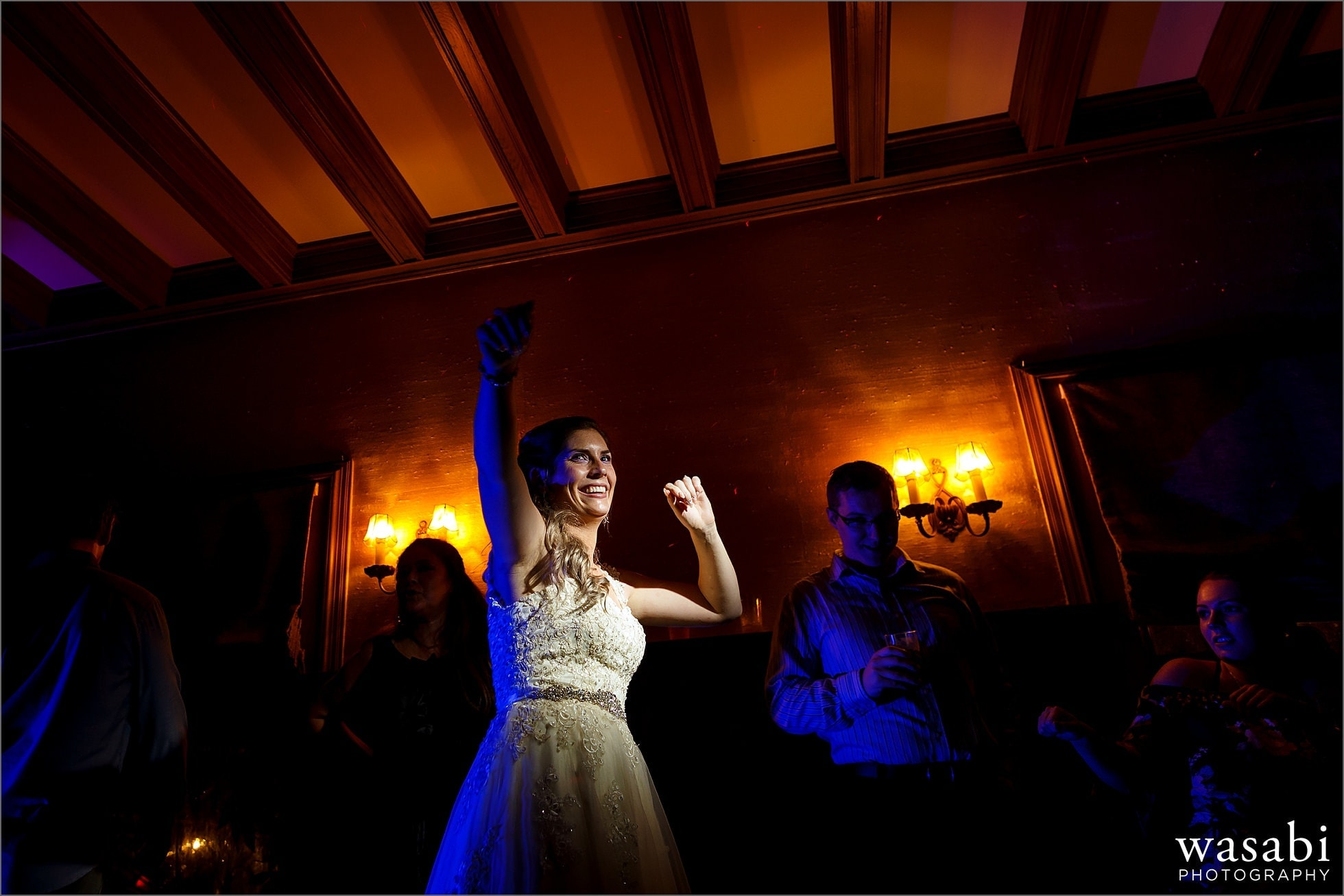 hard light bride dancing photo during wedding reception at Cheney Mansion in Oak Park