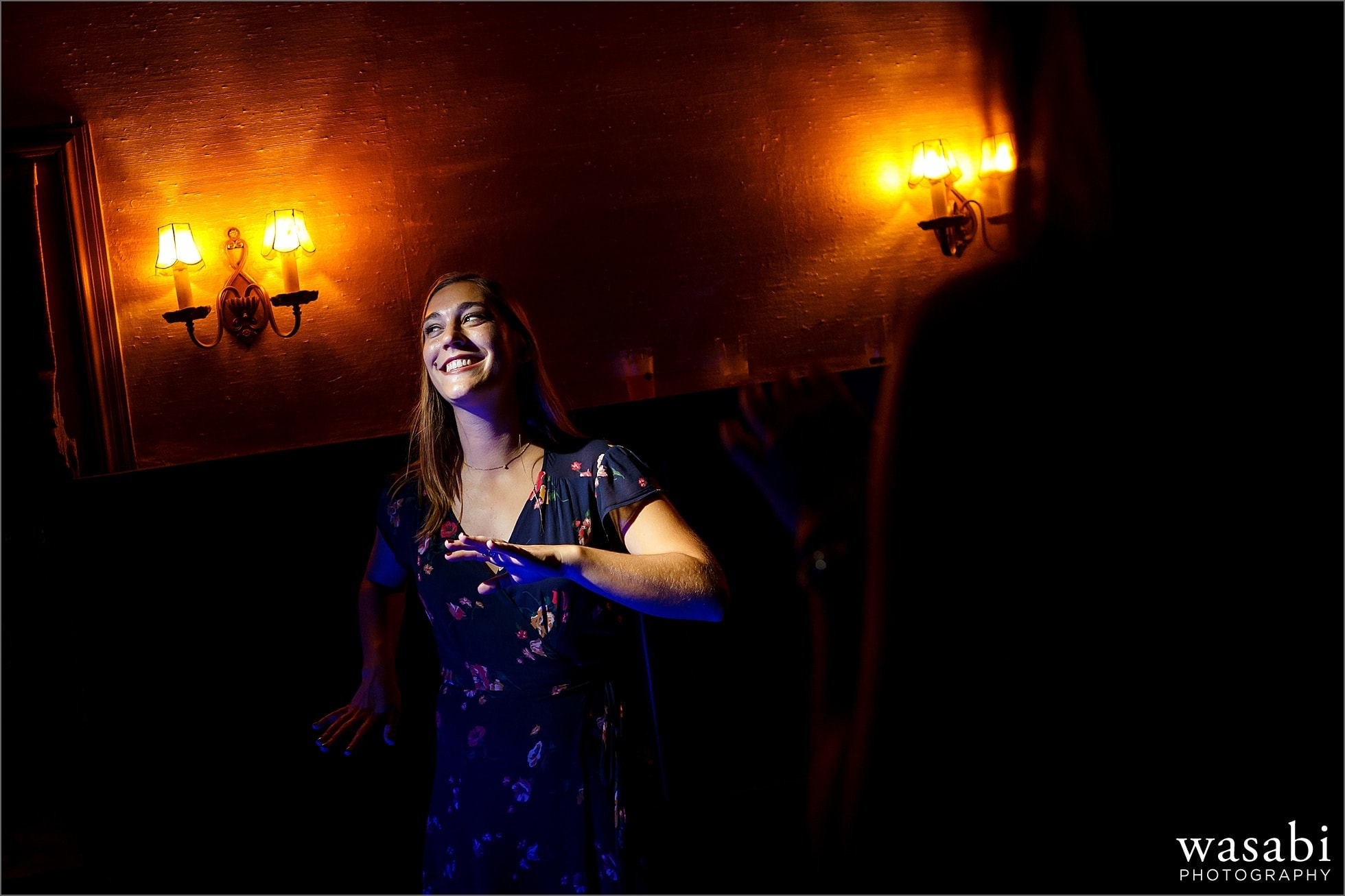 hard light wedding guest dancing photos during wedding reception at Cheney Mansion in Oak Park