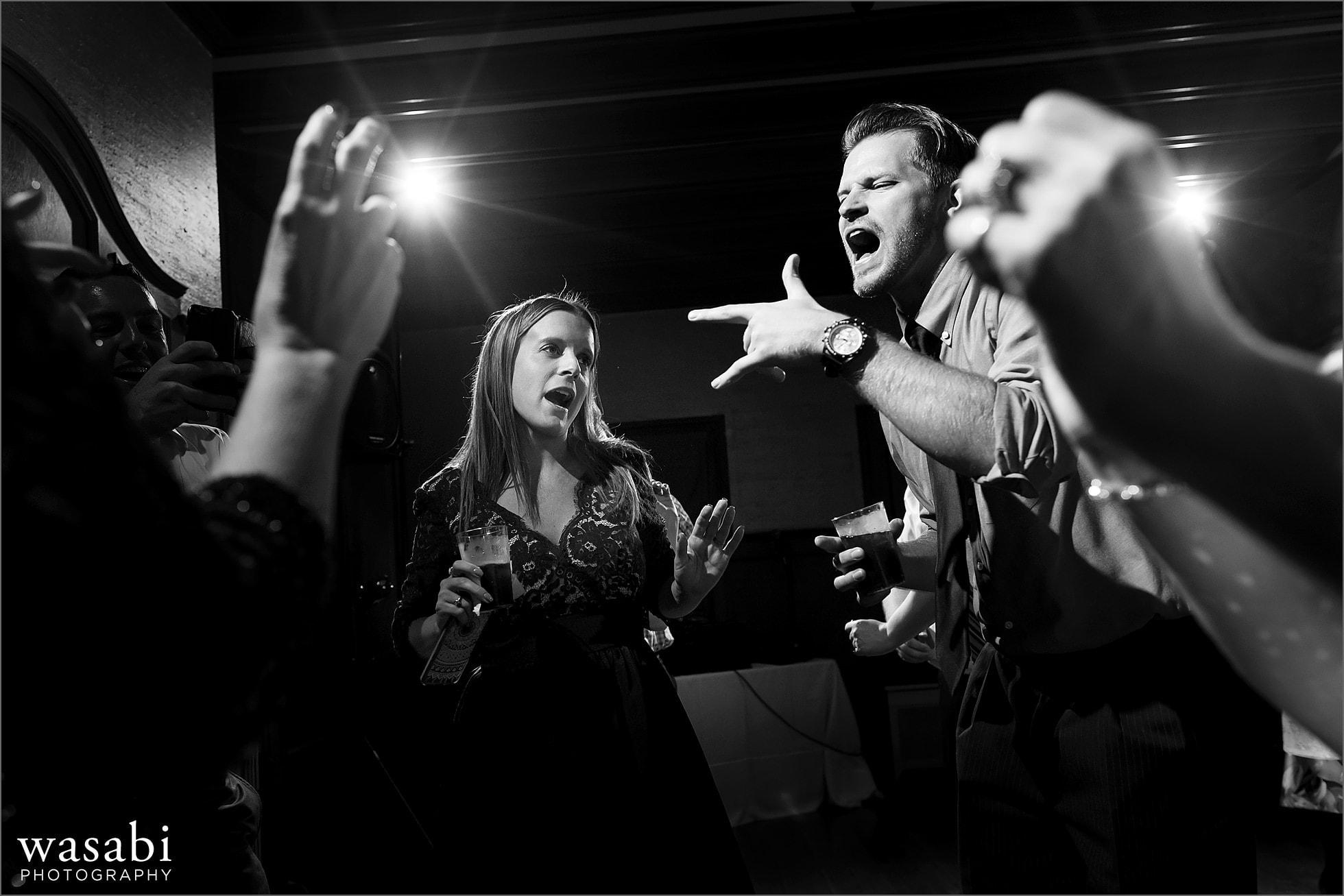 wedding guests dance during Cheney Mansion wedding photos