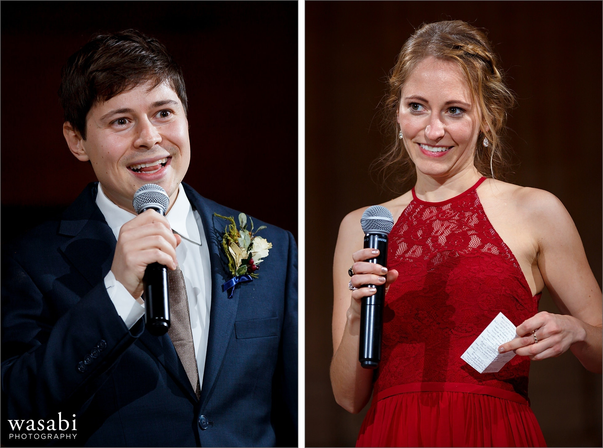 best man and maid of honor give toasts during wedding reception at Lyric Opera of Chicago wedding