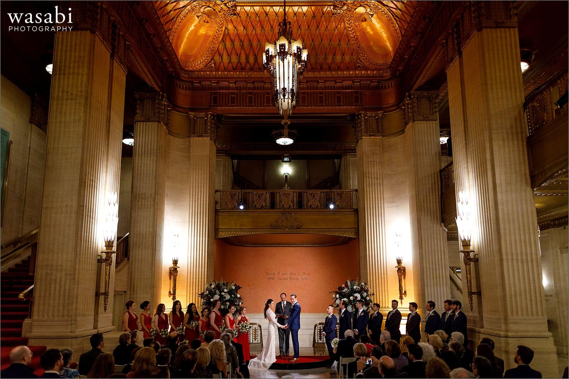 wide angle photo showing entire venue during wedding ceremony at Lyric Opera House wedding