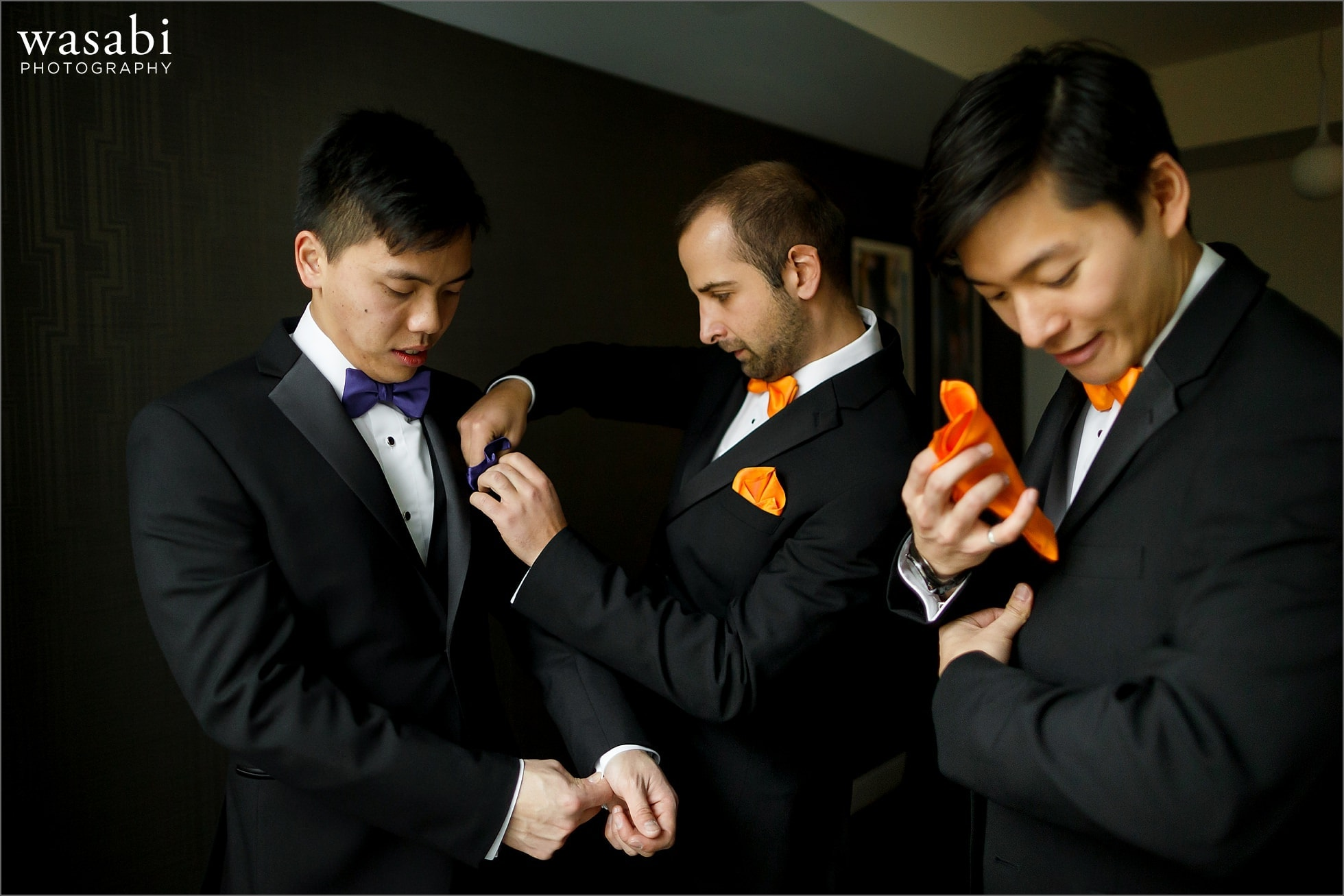 Groom and groomsmen get ready for wedding at Godfrey Hotel in Chicago
