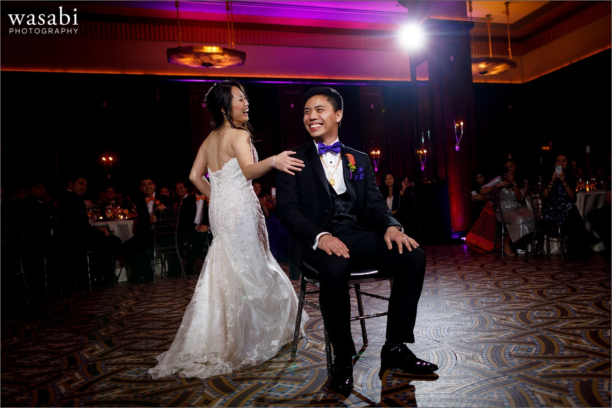 bride and groom choreographed first dance during Montgomery Club wedding reception