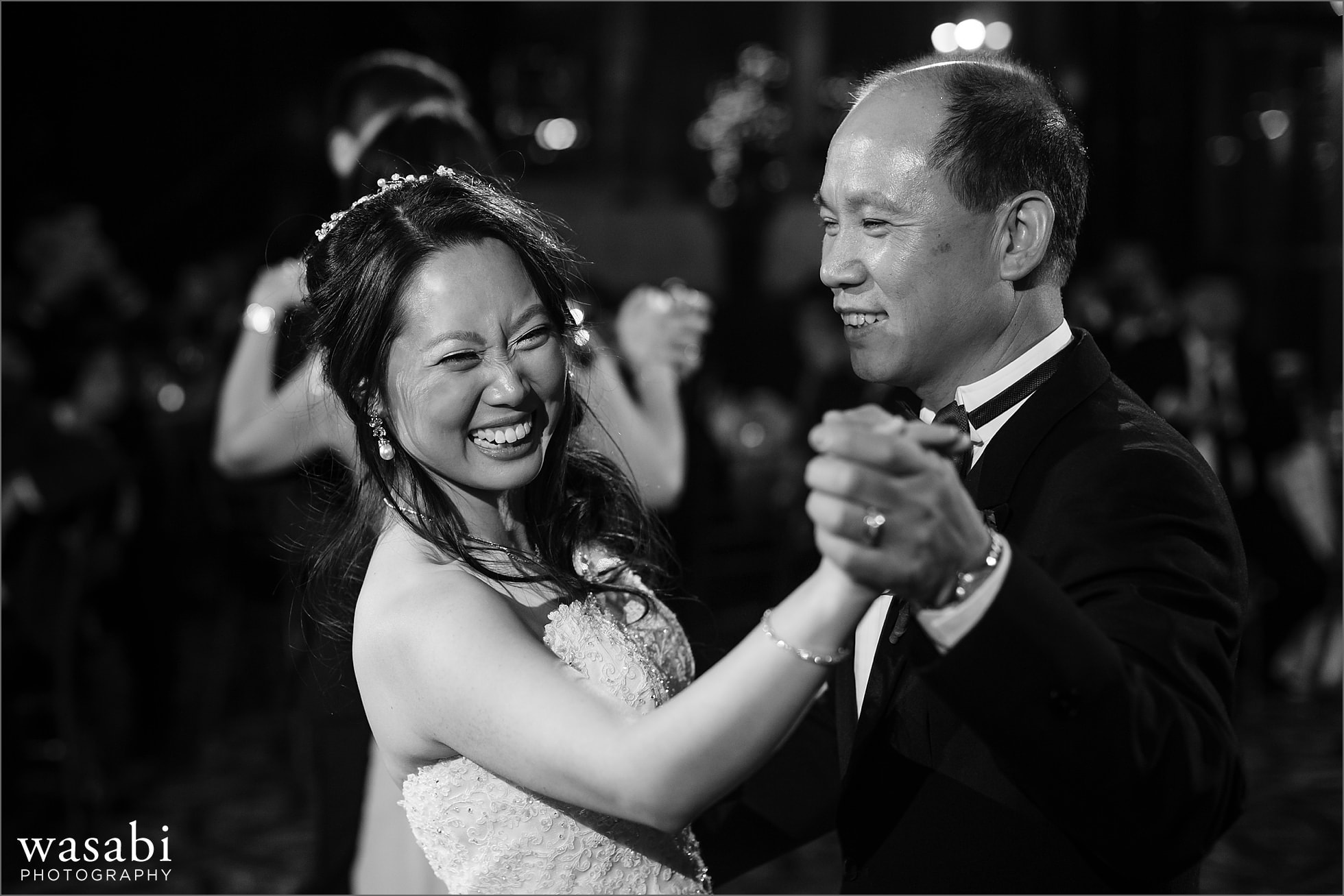bride dances with father during parent dance at Mongomery Club wedding reception