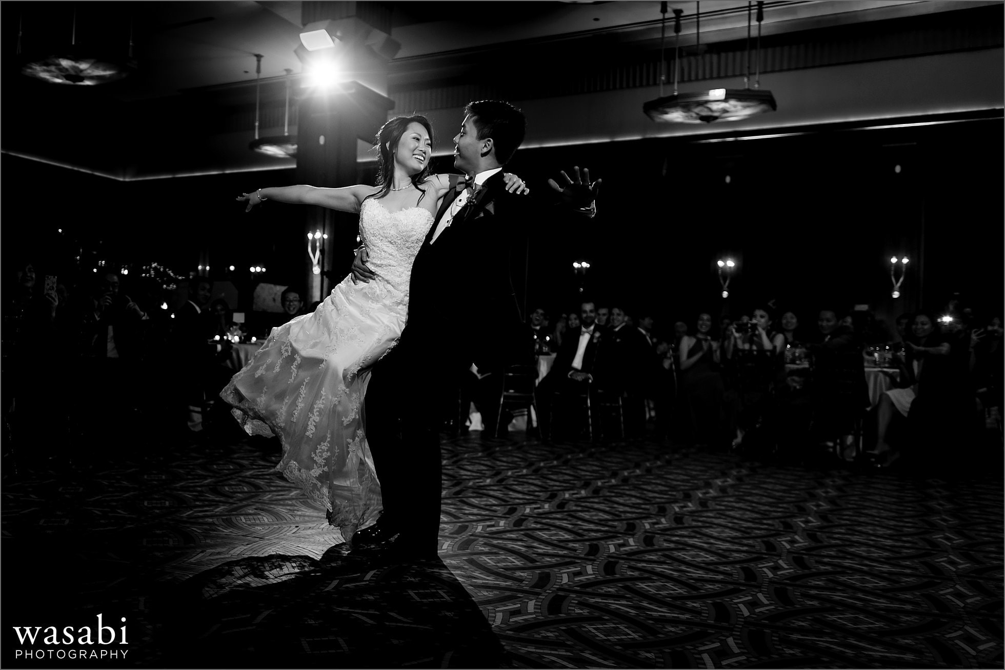 lift bride and groom choreographed first dance during Montgomery Club wedding reception