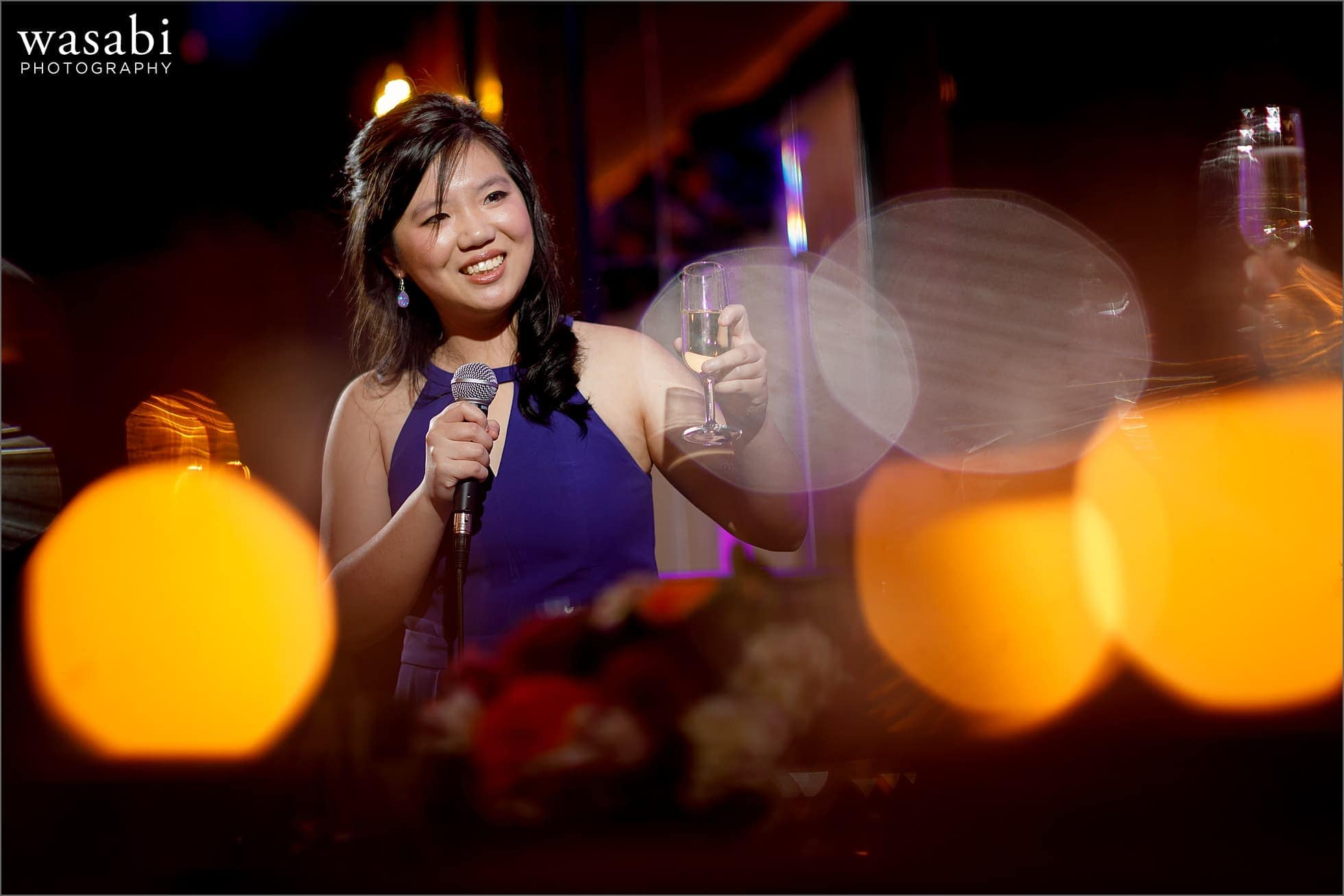 maid of honor toast at Montgomery Club wedding reception