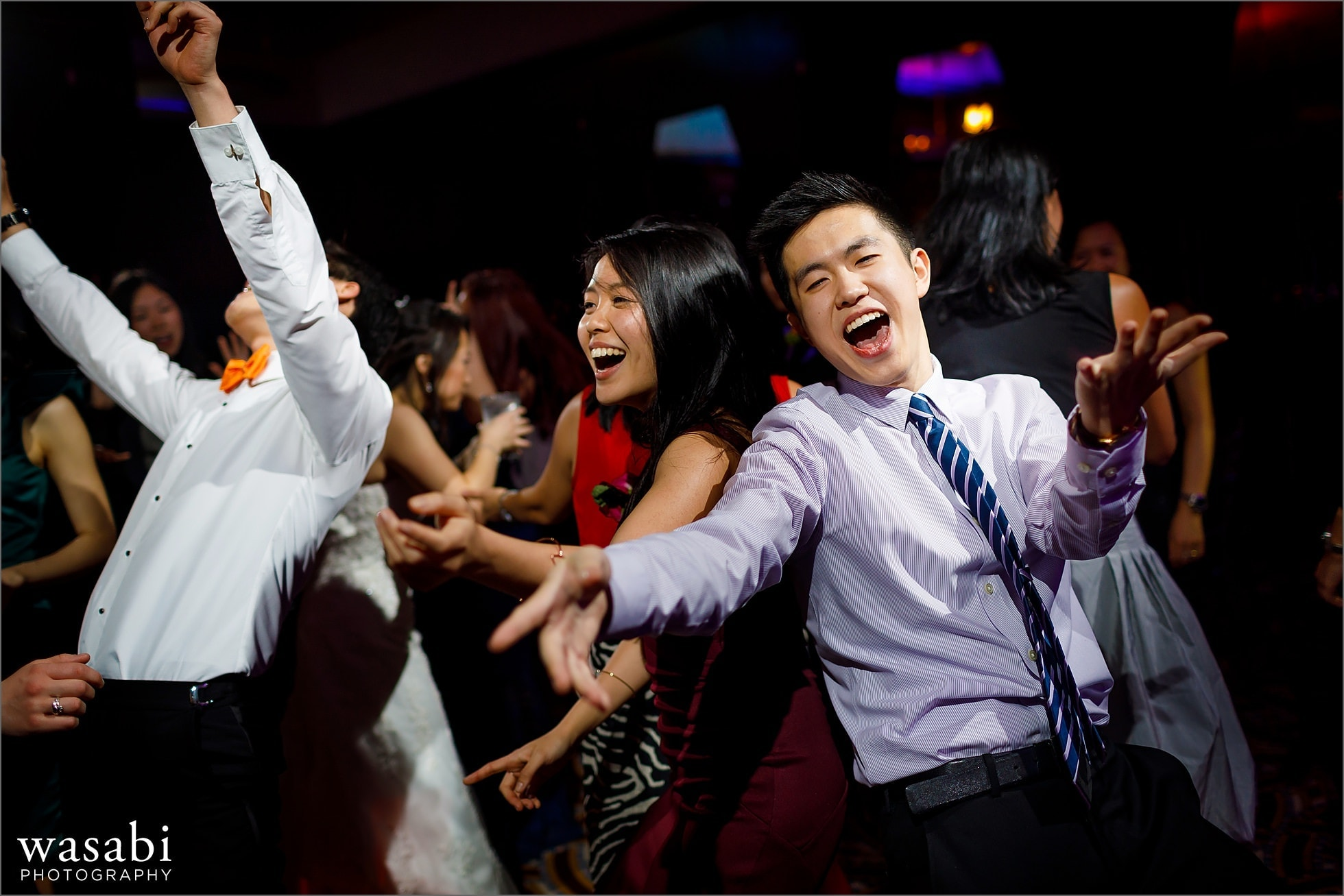 wedding guests on the dance floor with during Montgomery Club wedding reception in Chicago