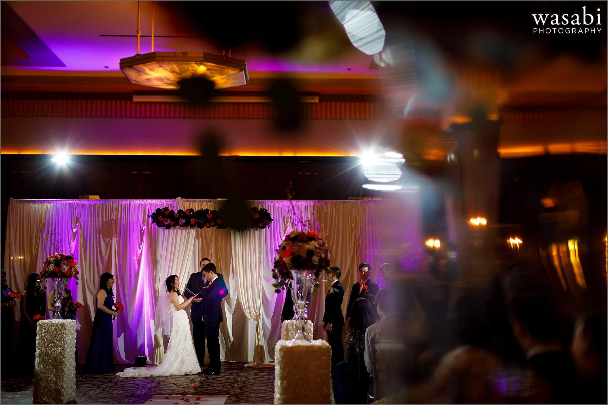 wide angle photo of ceremony during Montgomery Club wedding in Chicago