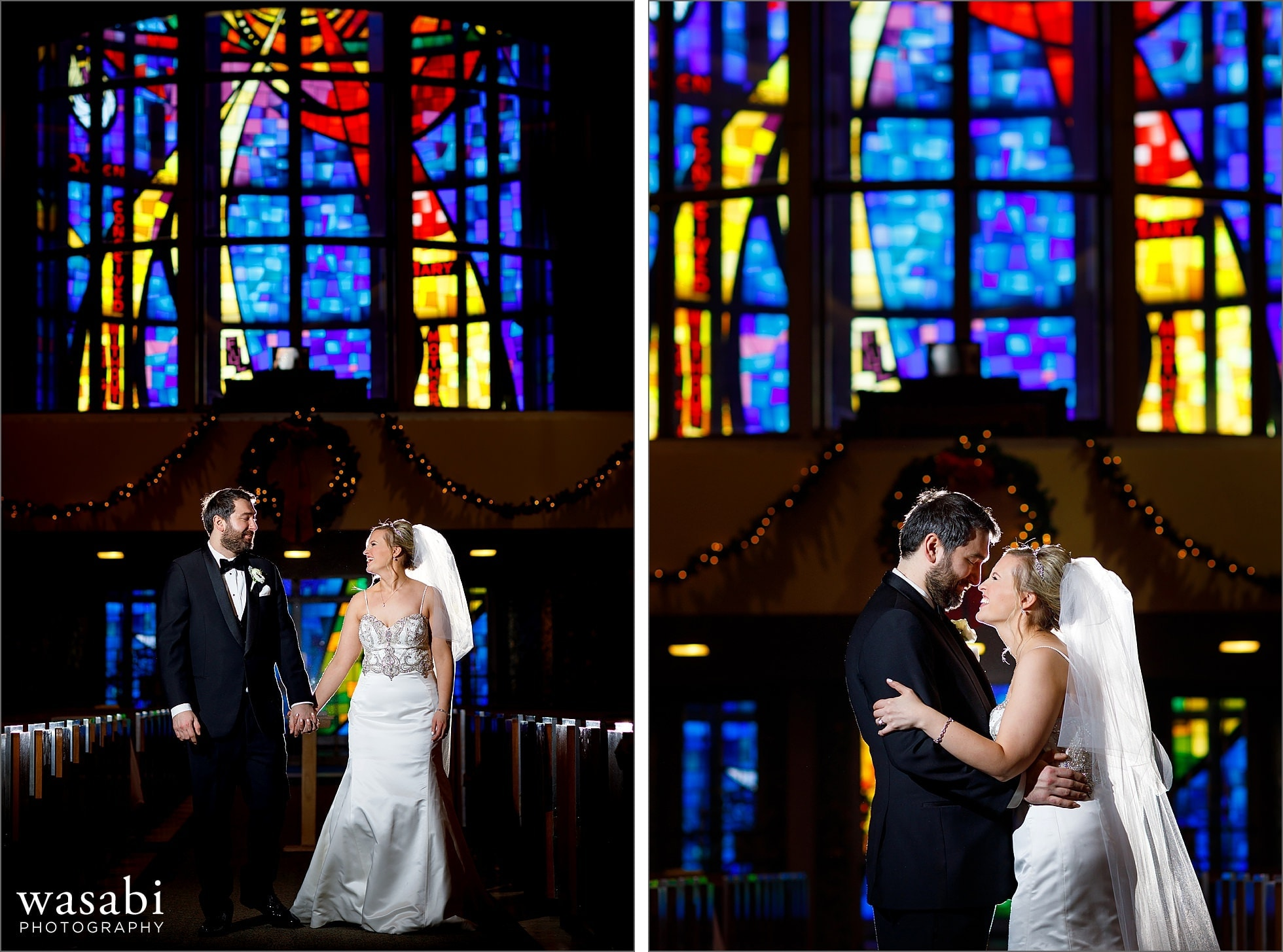 backlit portrait in wedding aisle with stained glass in the background at Immaculate Conception Catholic Church in Chicago