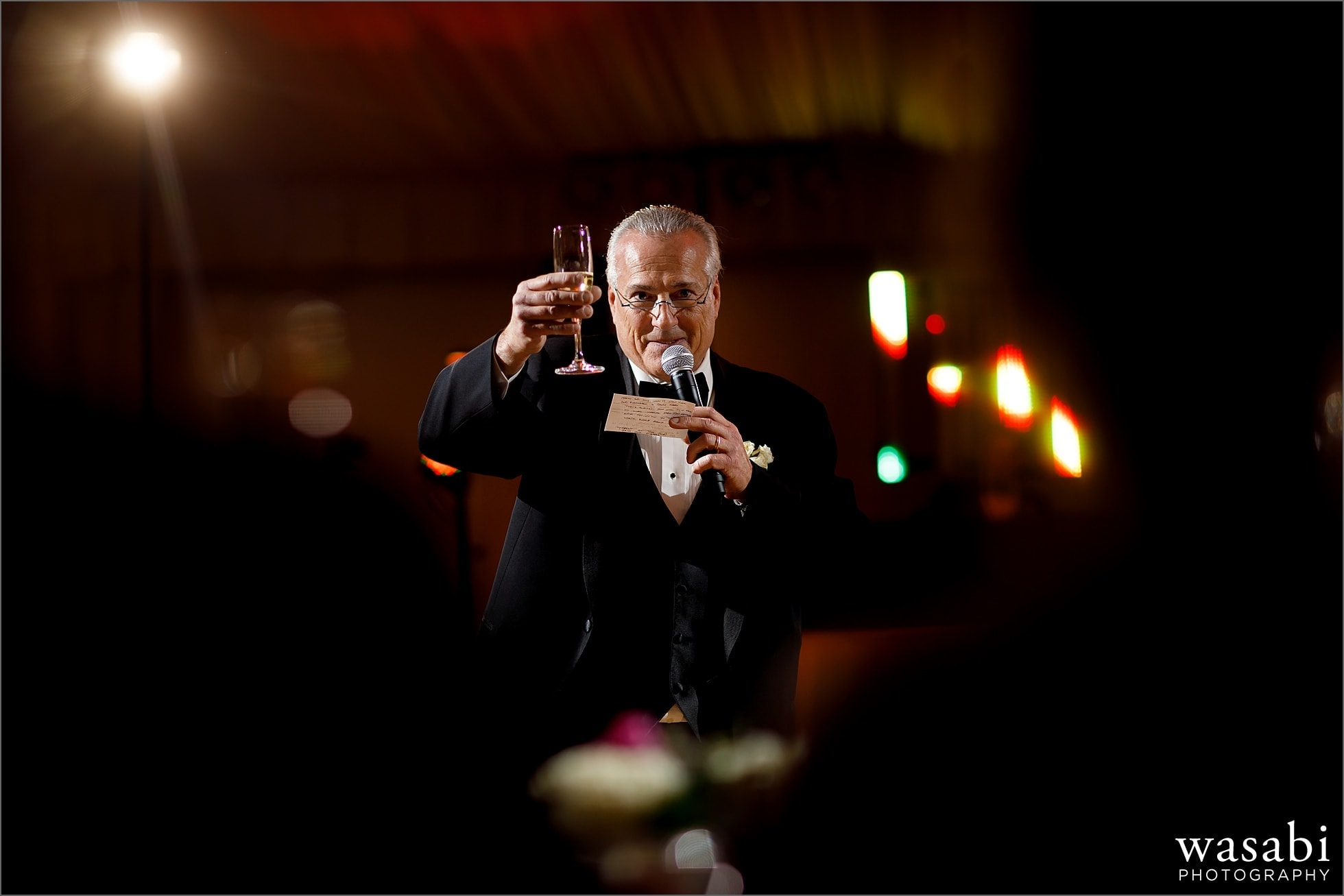 father of the bride gives toast during wedding reception at Chicago Marriott Lincolnshire Resort