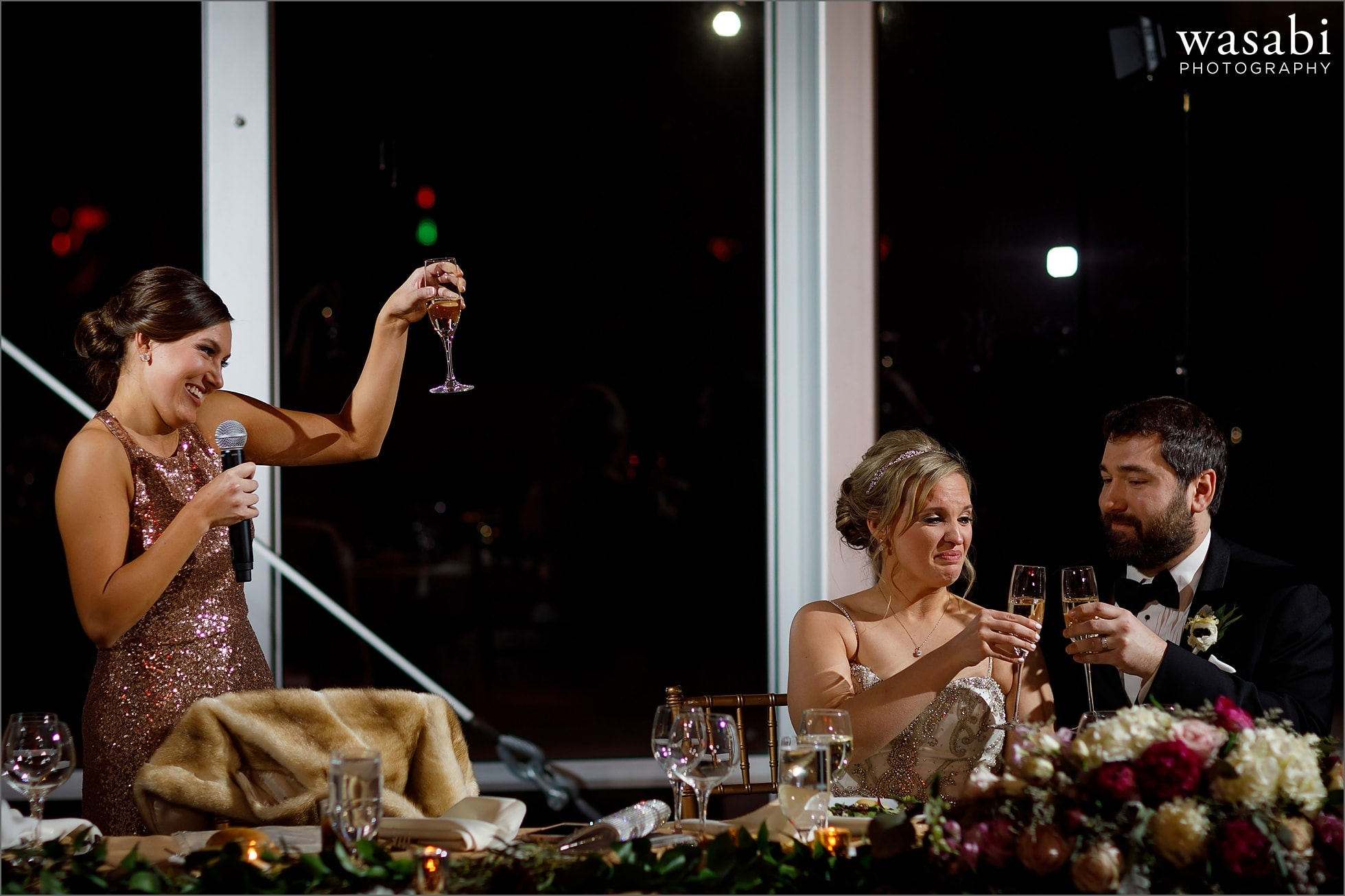 maid of honor toast at Chicago Marriott Lincolnshire Resort wedding reception