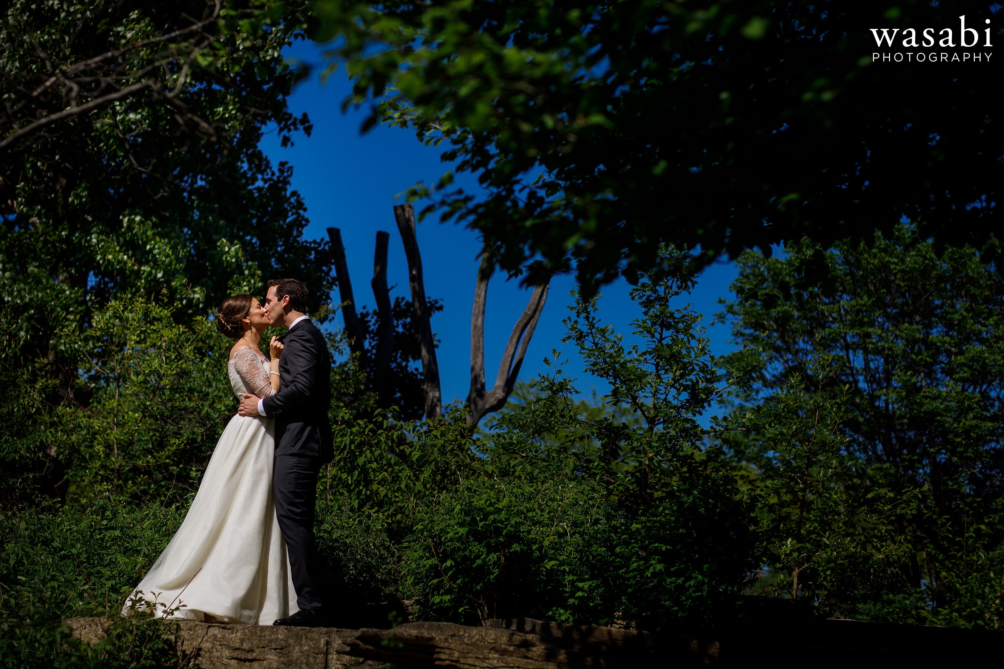 Zoe-and-Justin-pose-for-a-portrait-in-the-Alfred-Caldwell-Lily-Pool-at-Lincoln-Park-Conservancy-on-their-wedding-day-15