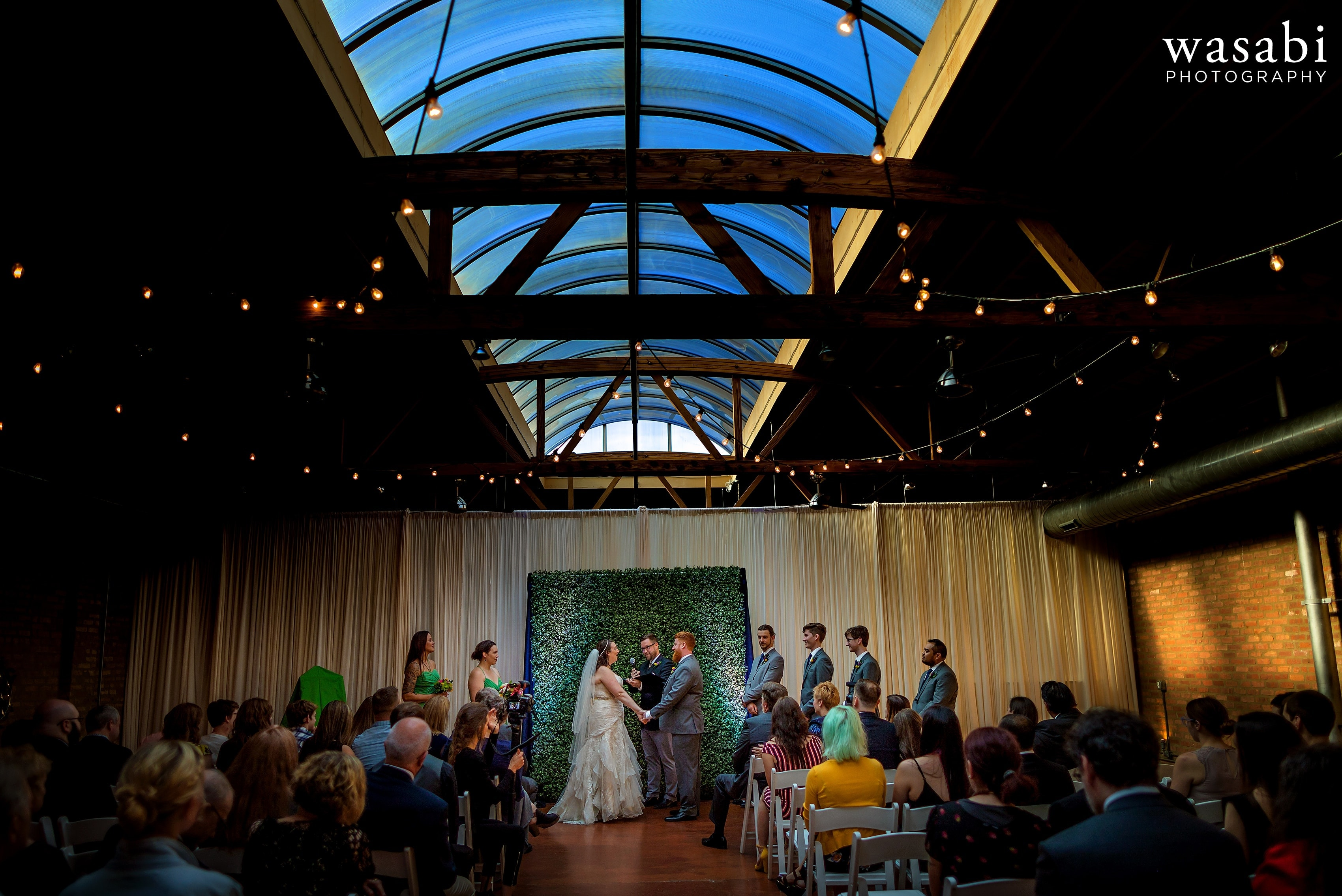 Wide angle view of the full room during a wedding ceremony Loft on Lake in Chicago