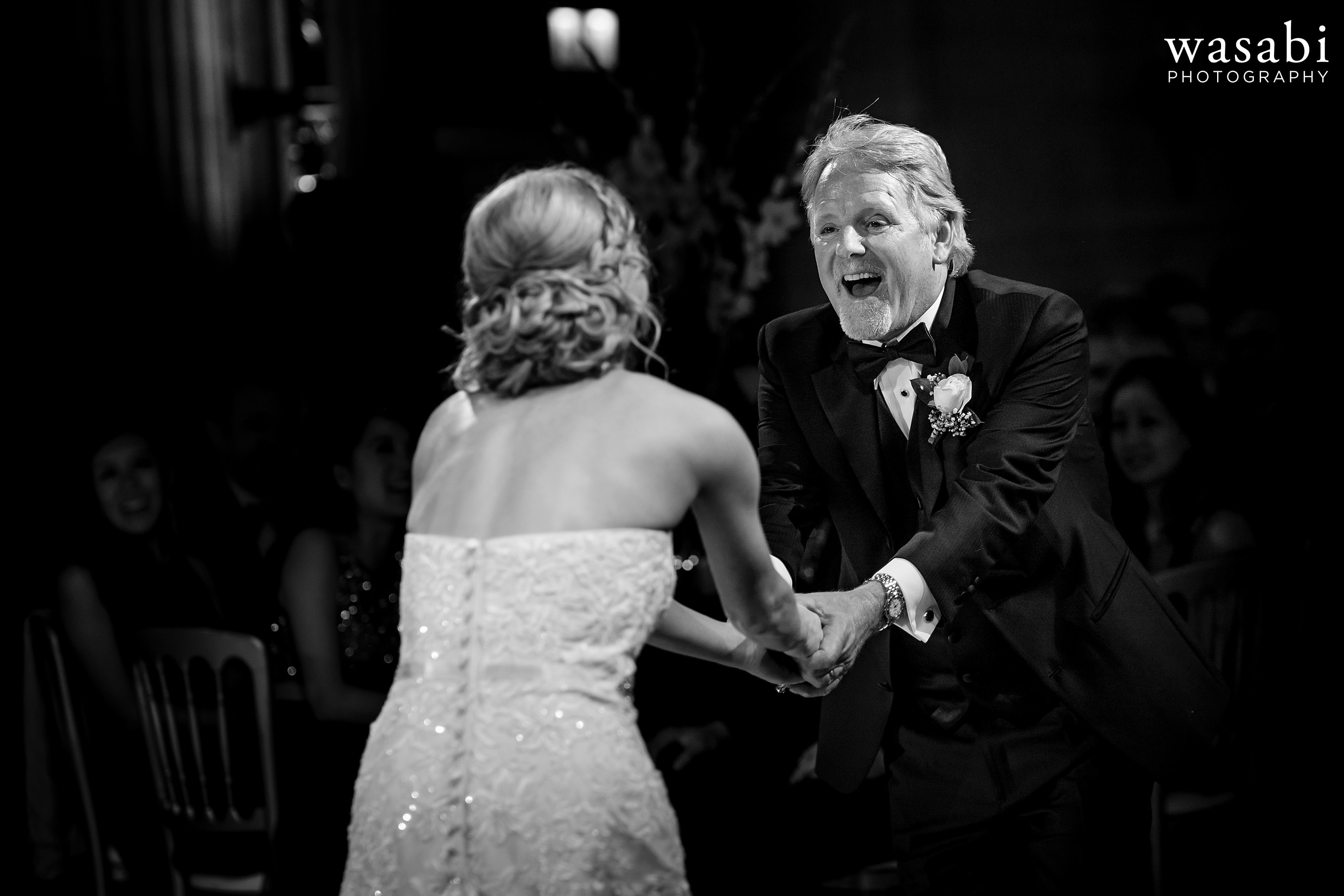 Bride dances with dad during father daughter first dance at Civic Opera House wedding reception