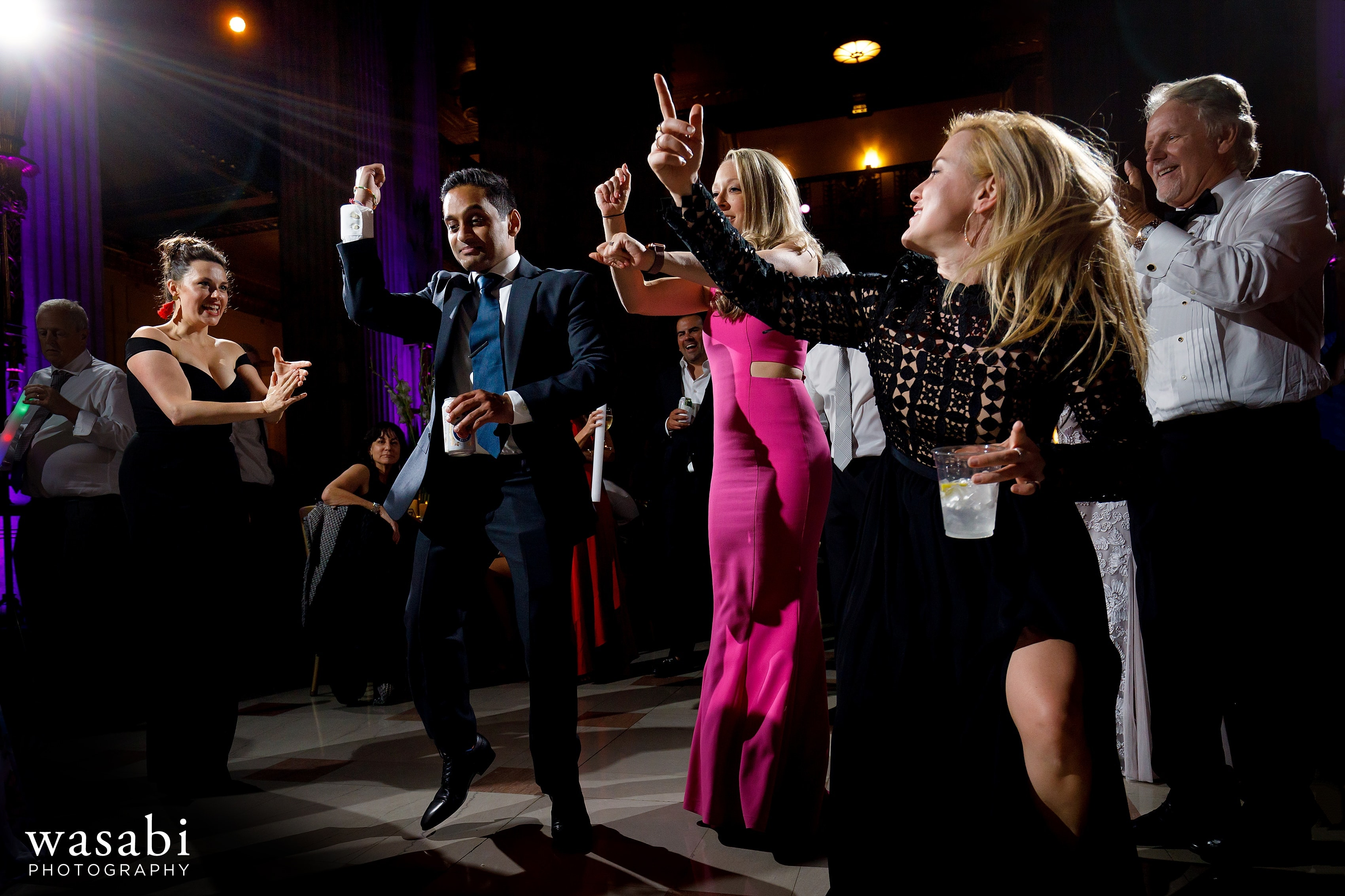 Guests dance during Civic Opera House wedding reception