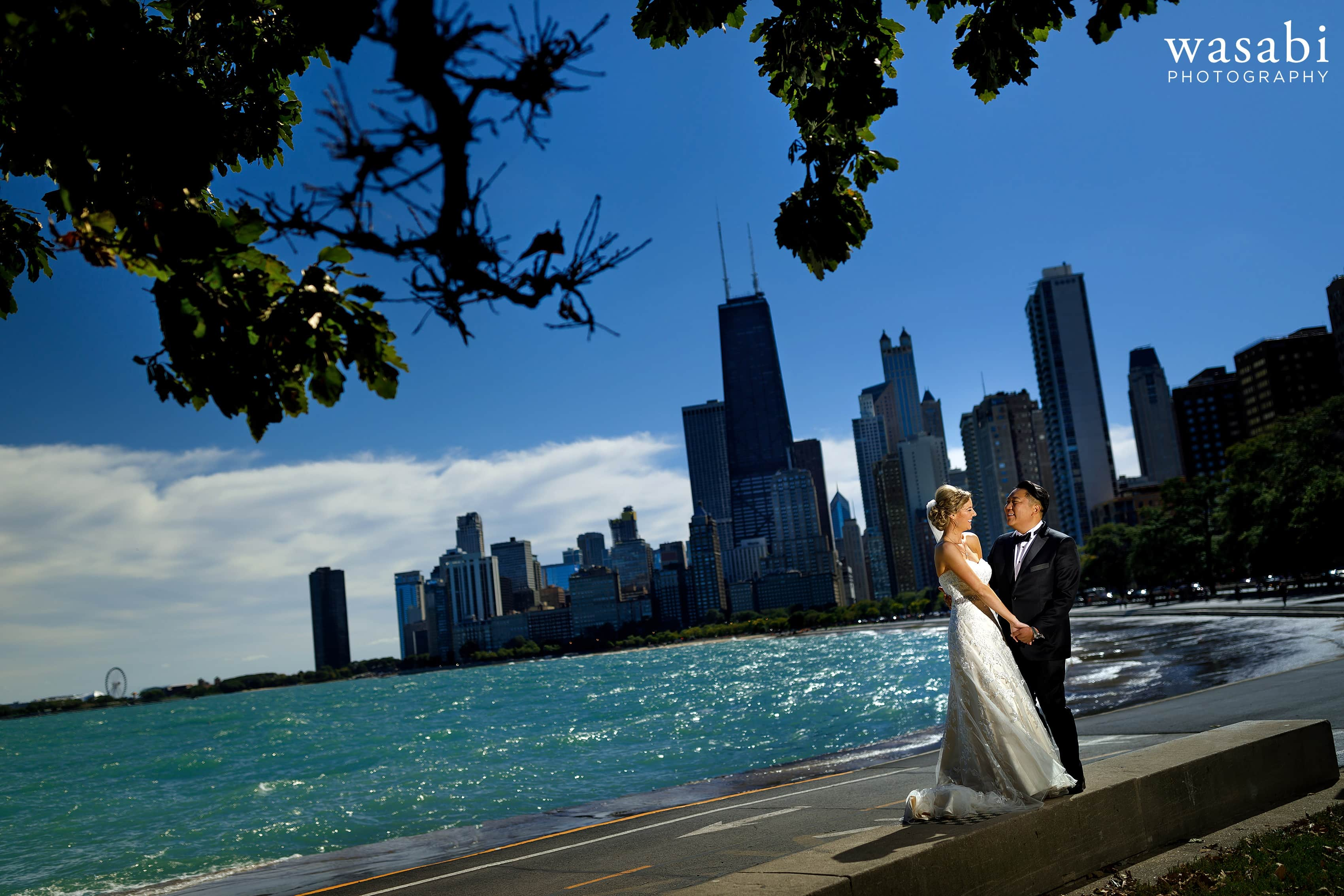 Lit portrait in full sun of bride and groom portrait at North Avenue Beach with Chicago skyline and Lake Michigan in the background