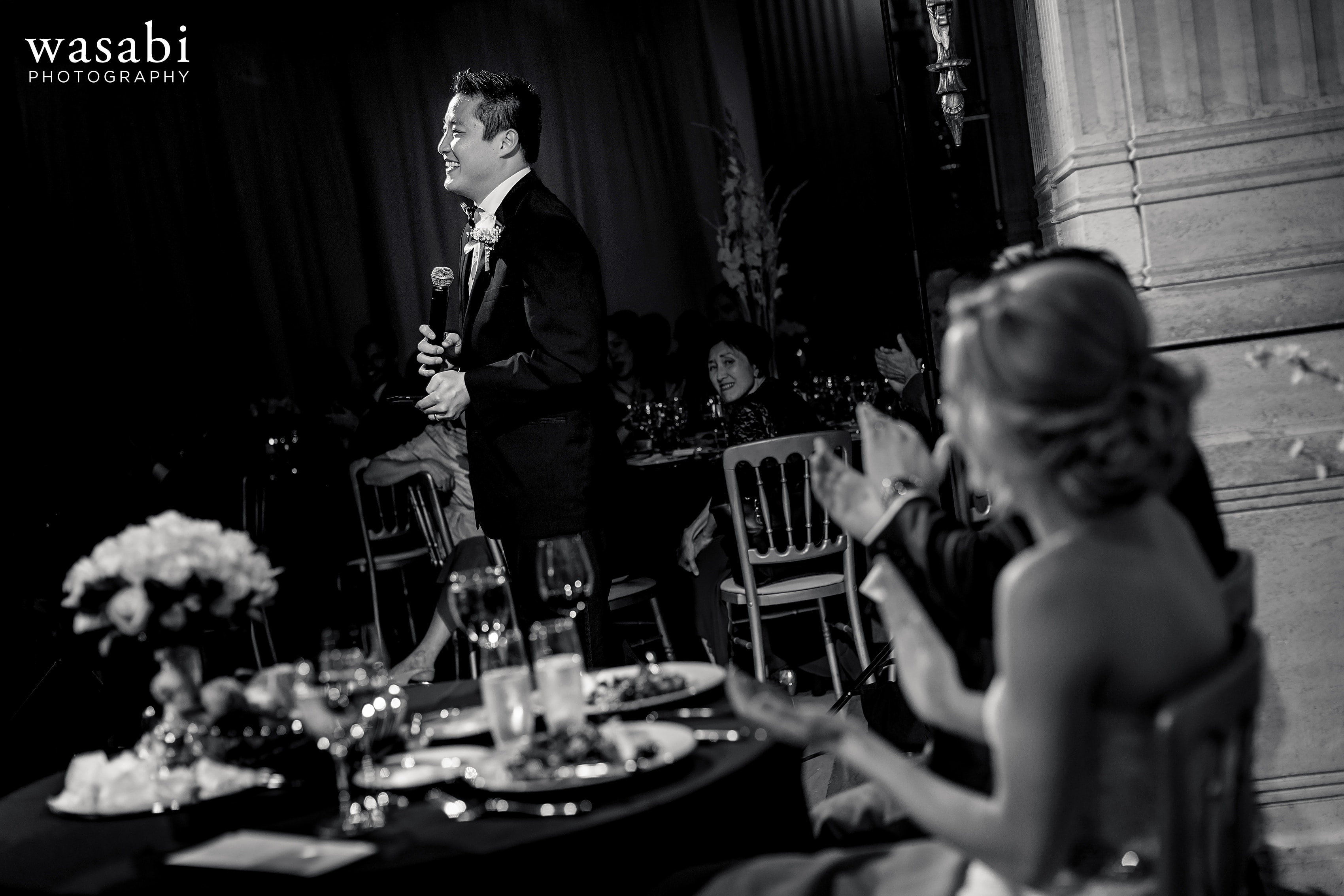 best man gives toast at Civic Opera House wedding reception in Chicago