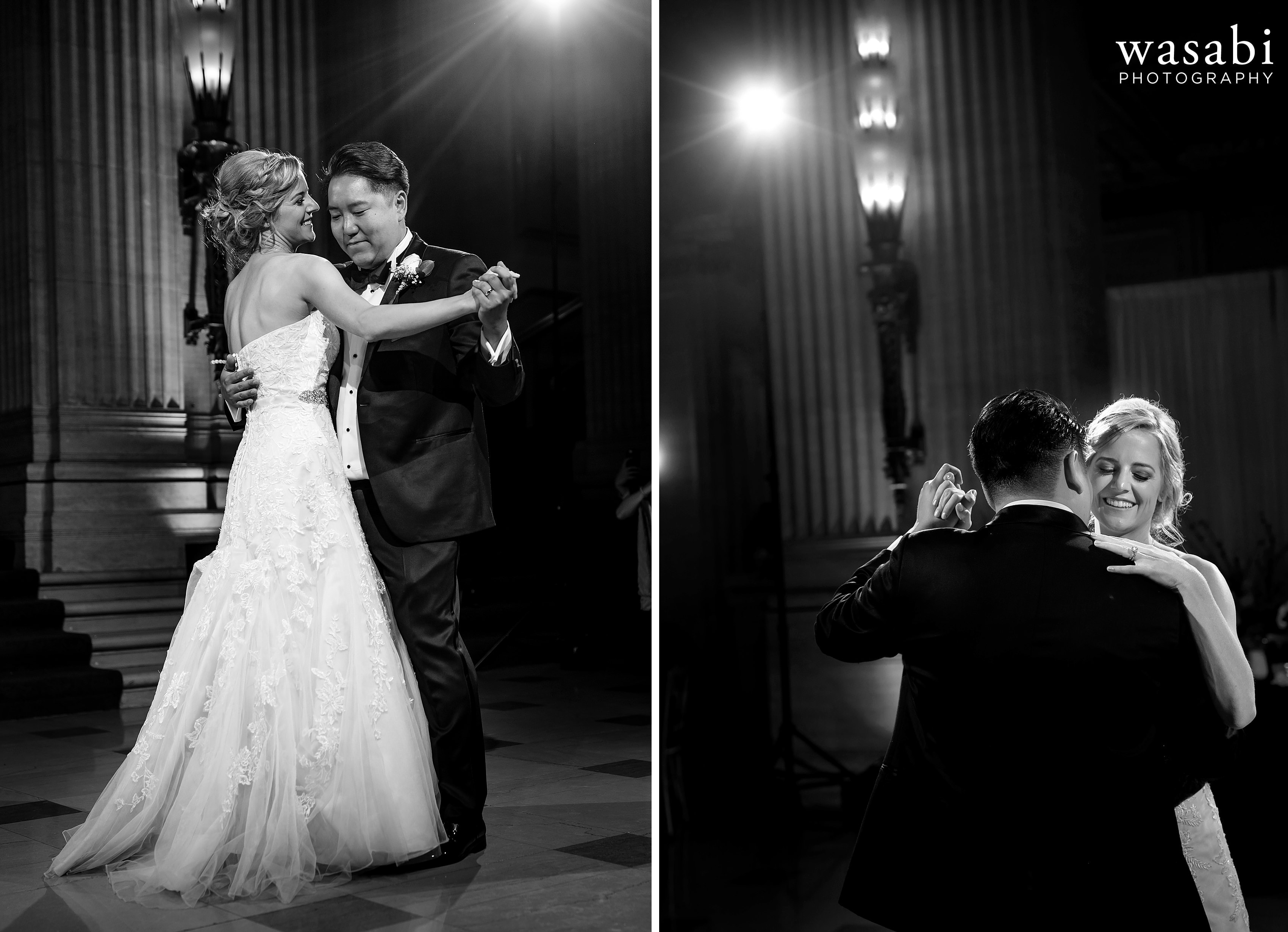 bride and groom first dance at Civic Opera House wedding reception
