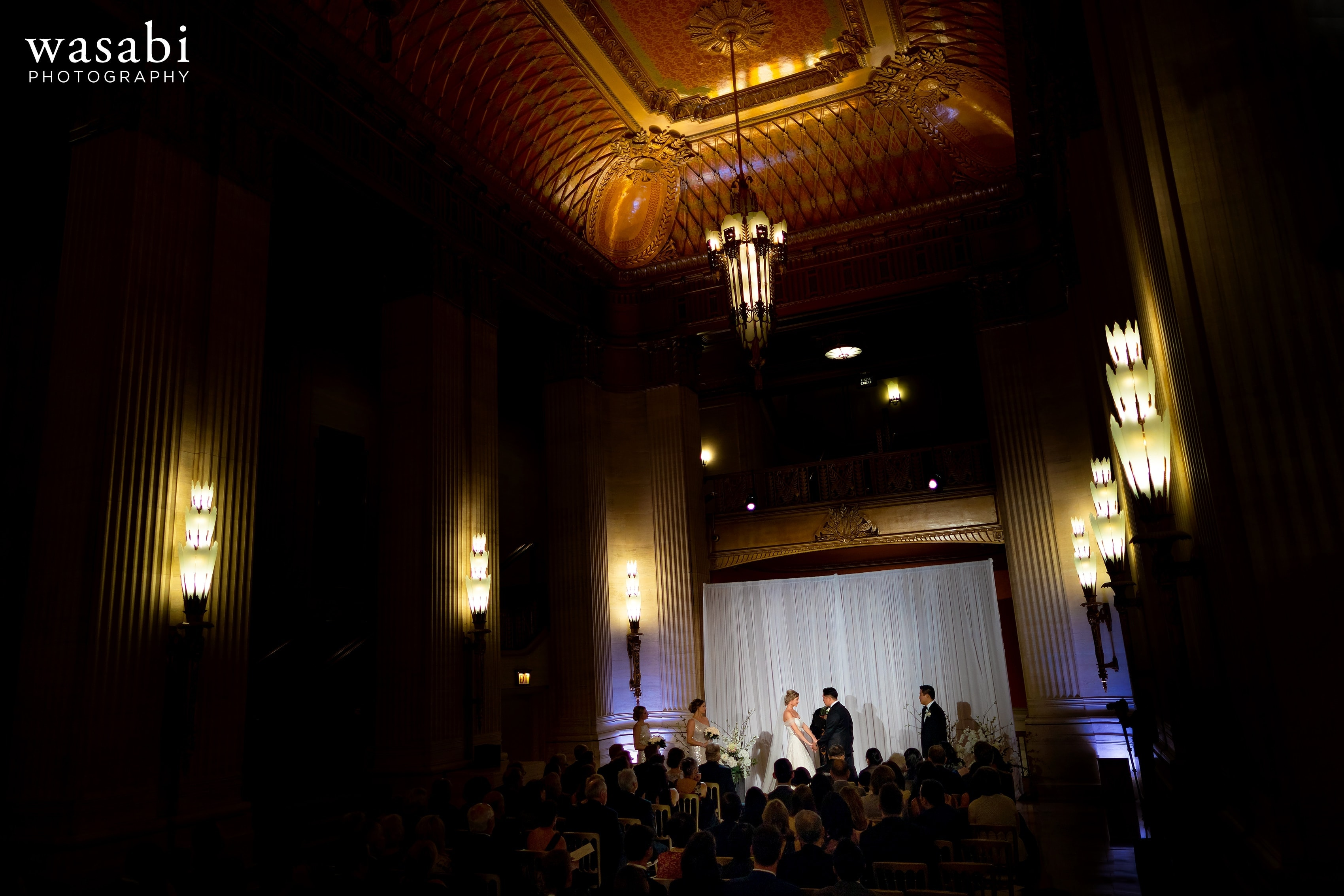 wide angle view of Civic Opera House wedding ceremony showing the entire grand lobby