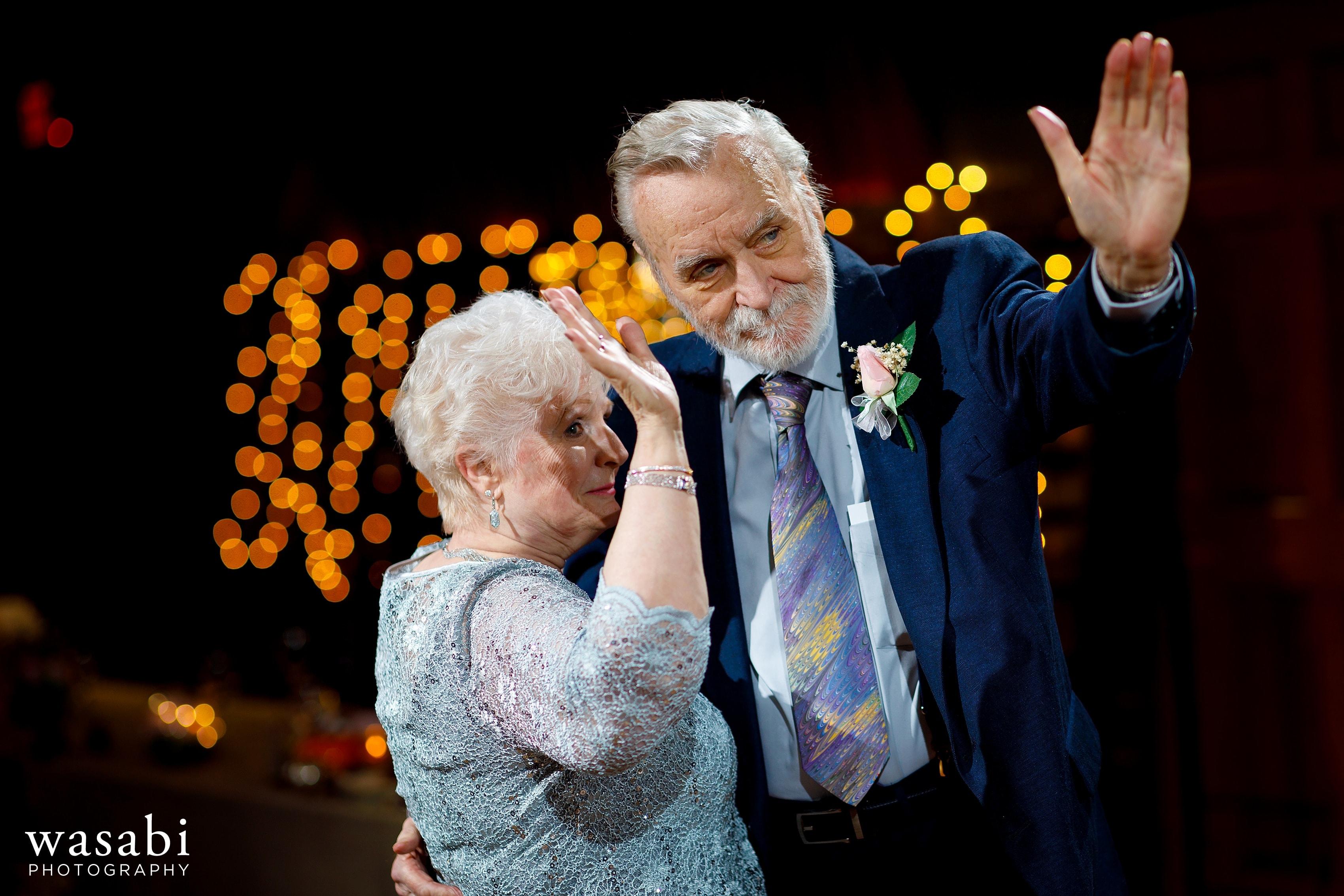 Grandparents on the dance floor during Buck's Run Golf Club wedding reception in Mount Pleasant, Michigan.