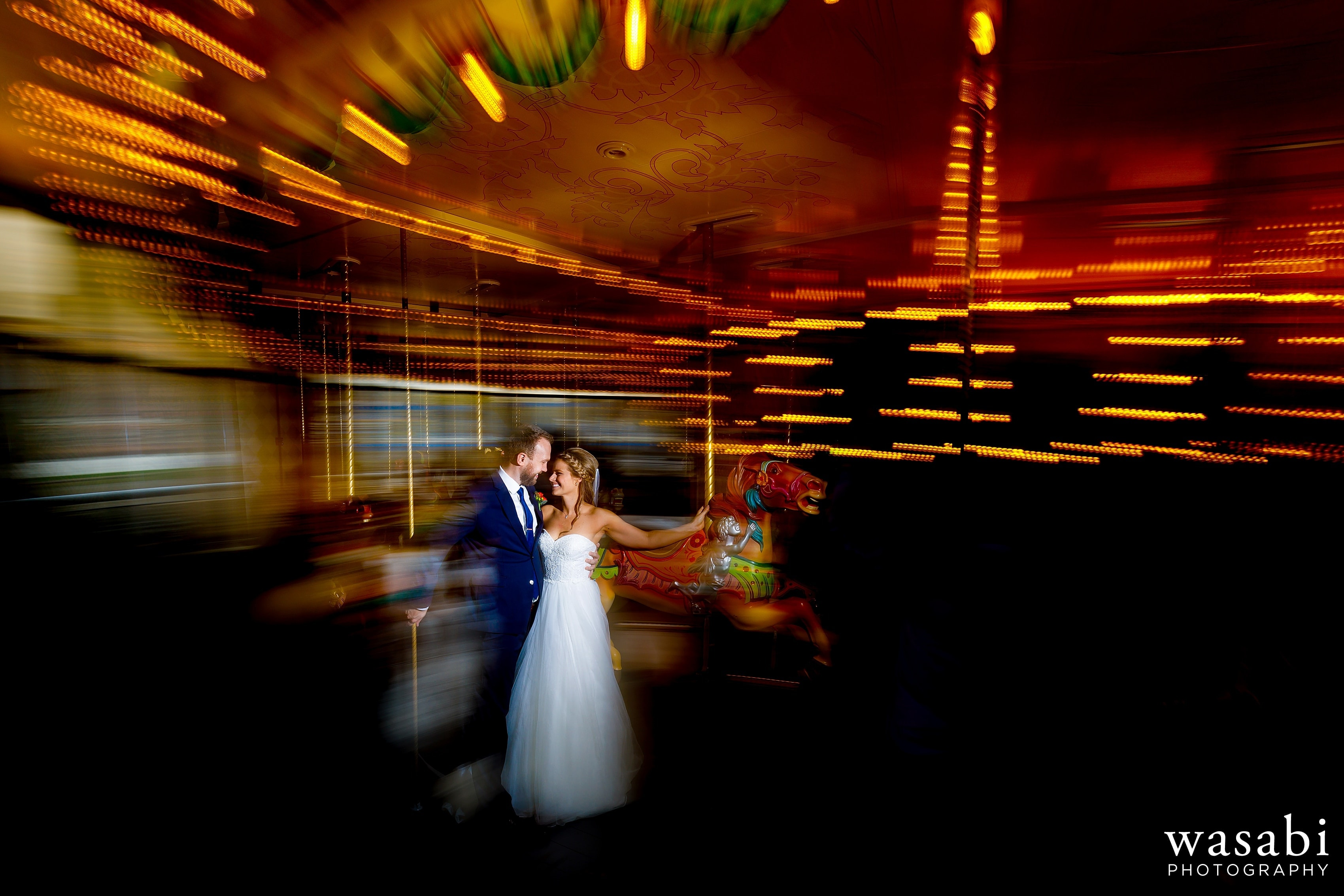Bride and groom portrait at Grand Rapids Public Museum before their wedding