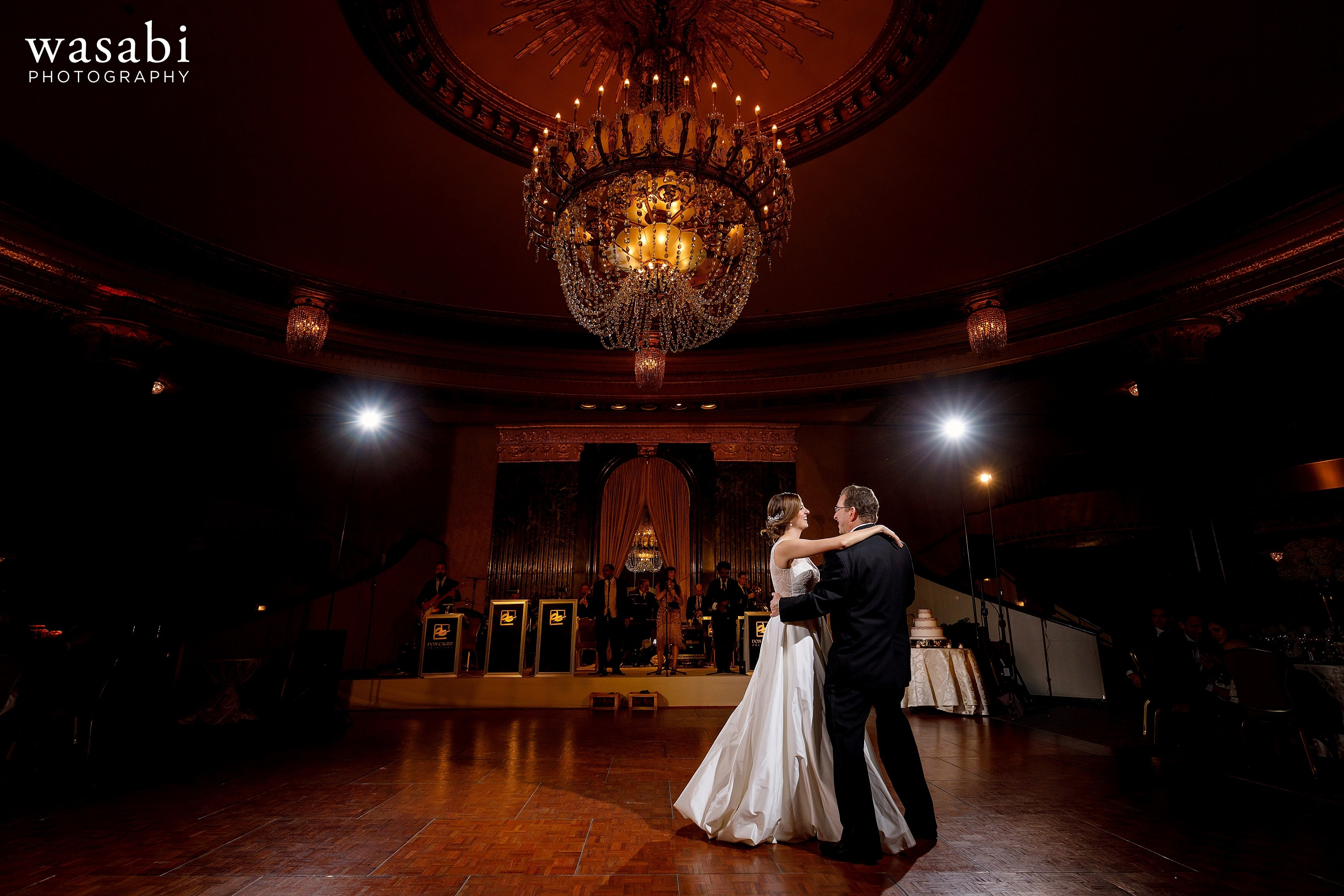 bride dances with her dad during father daughter dance at InterContinental Chicago Magnificent Mile Hotel wedding reception