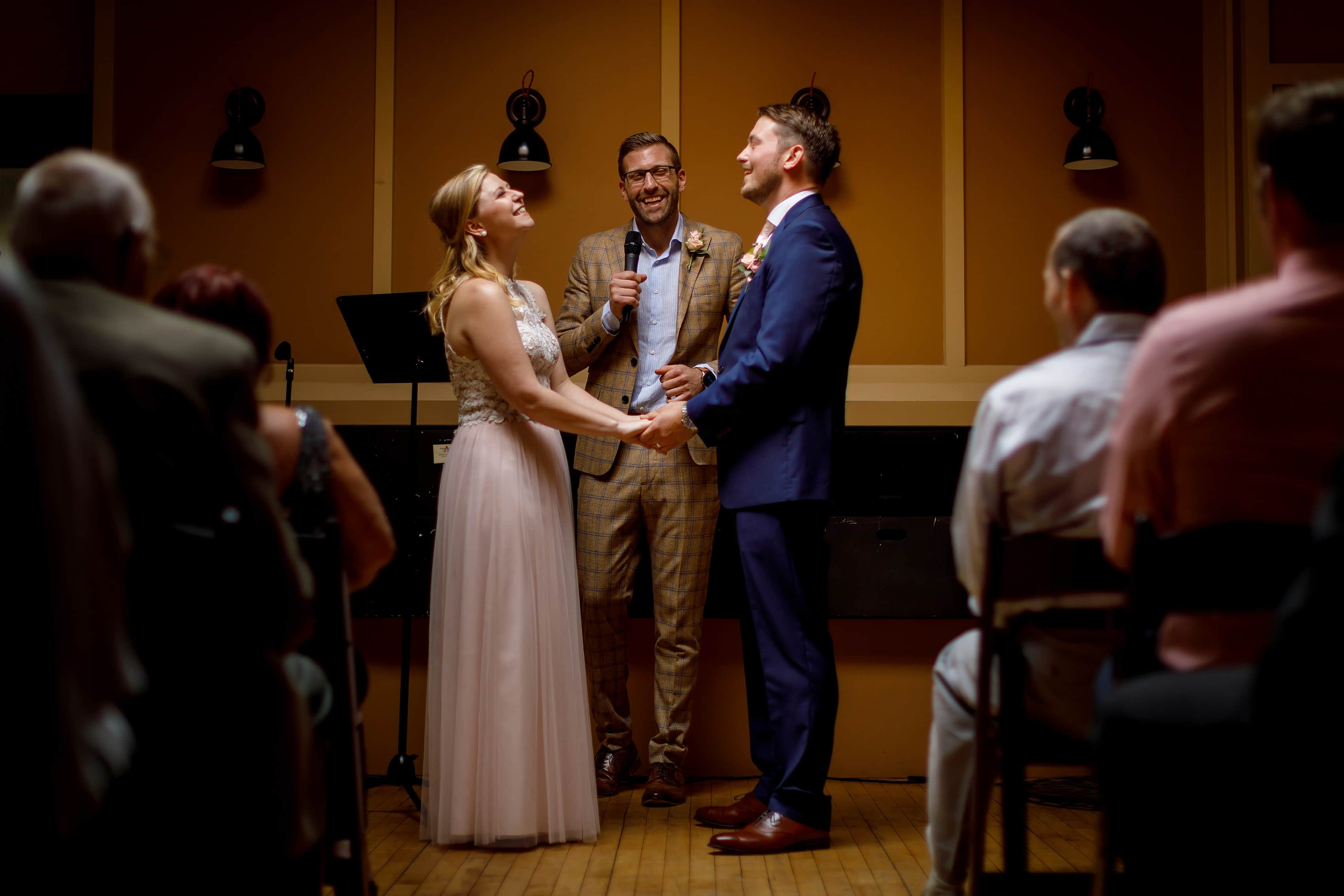 Couple gets married at Anodyne coffee roasting co. in Milwaukee Wisconsin