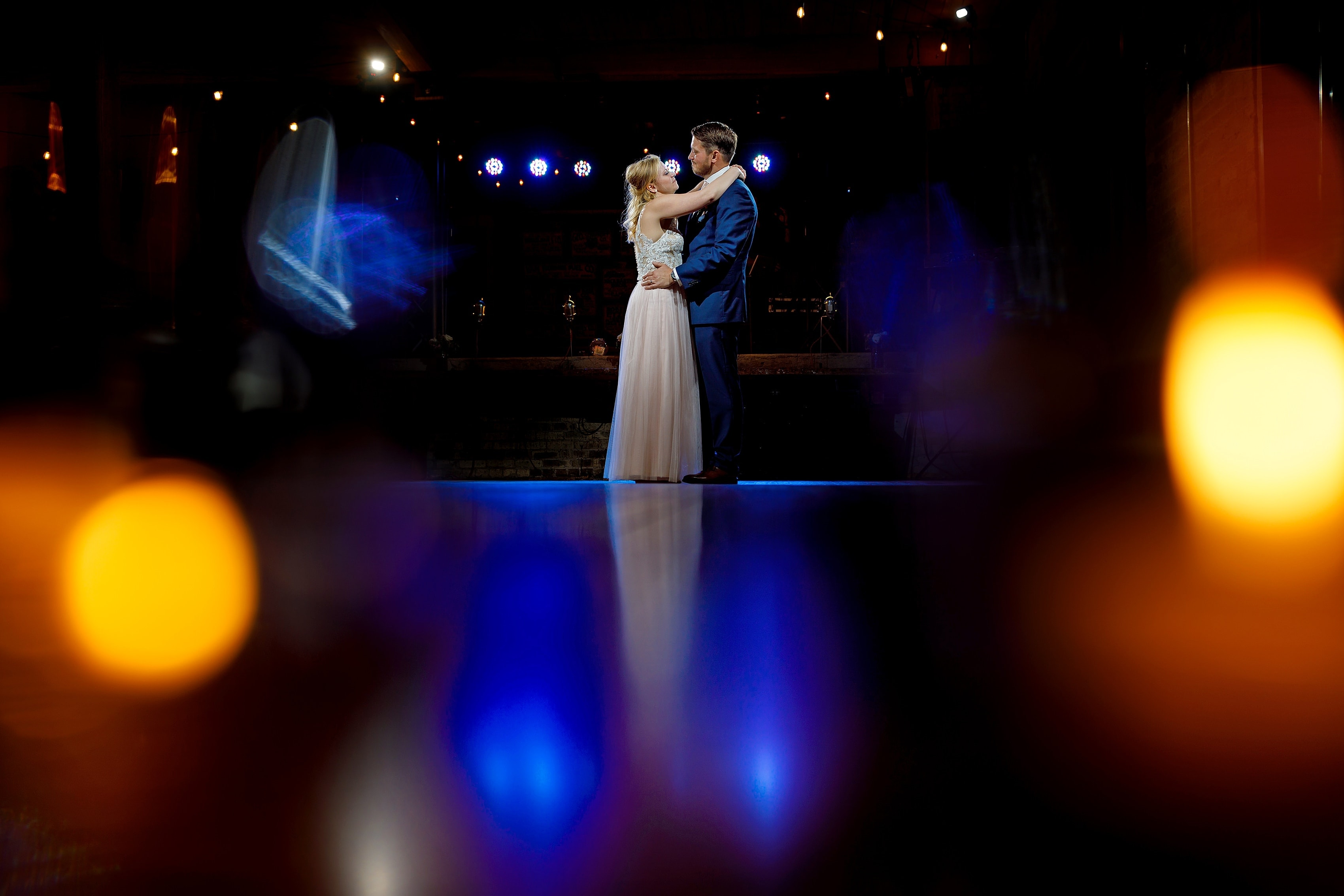 wedding Couple first dance during reception at Anodyne coffee roasting co. in Milwaukee Wisconsin