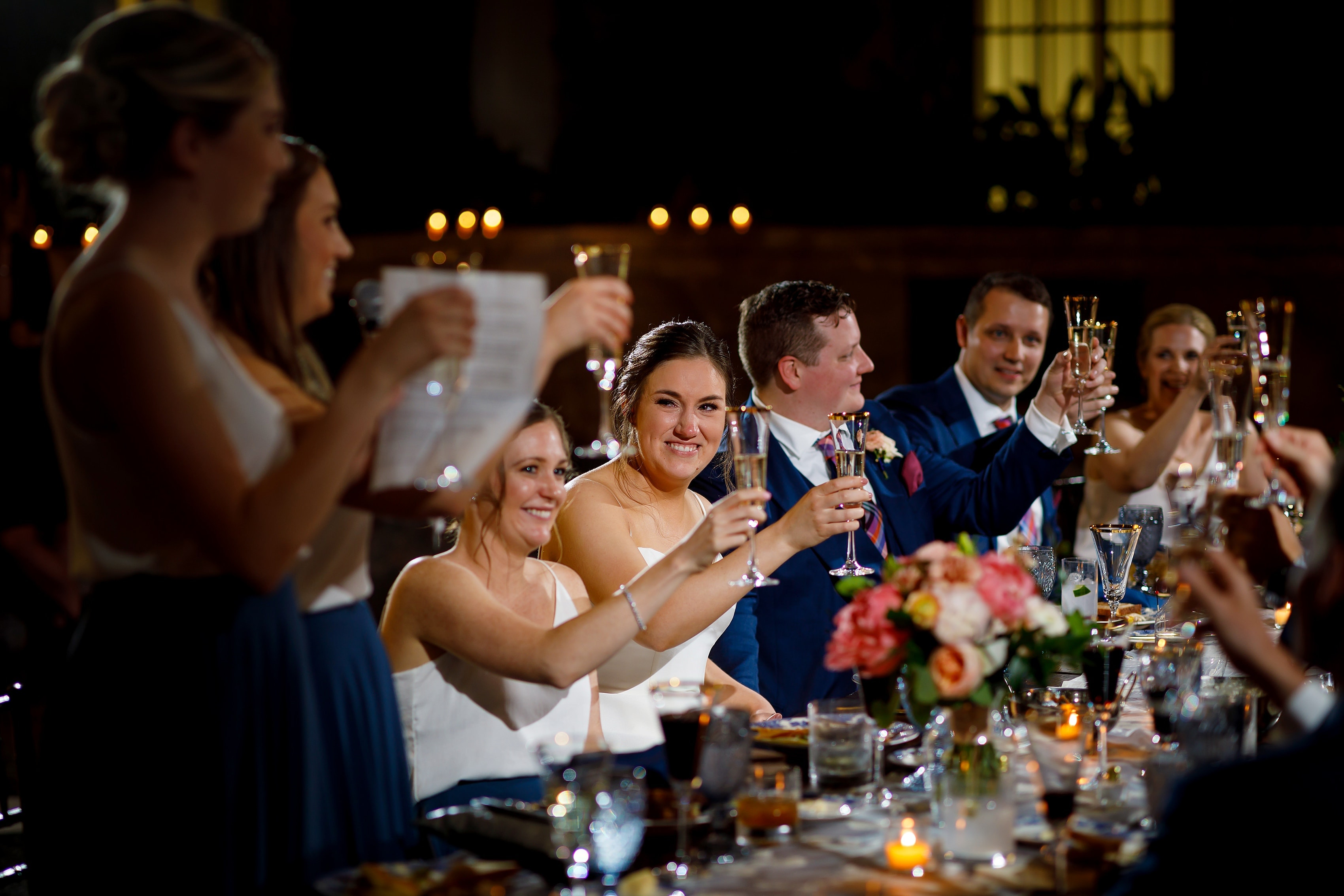 bridesmaids toast during wedding reception at Harold Washington Library